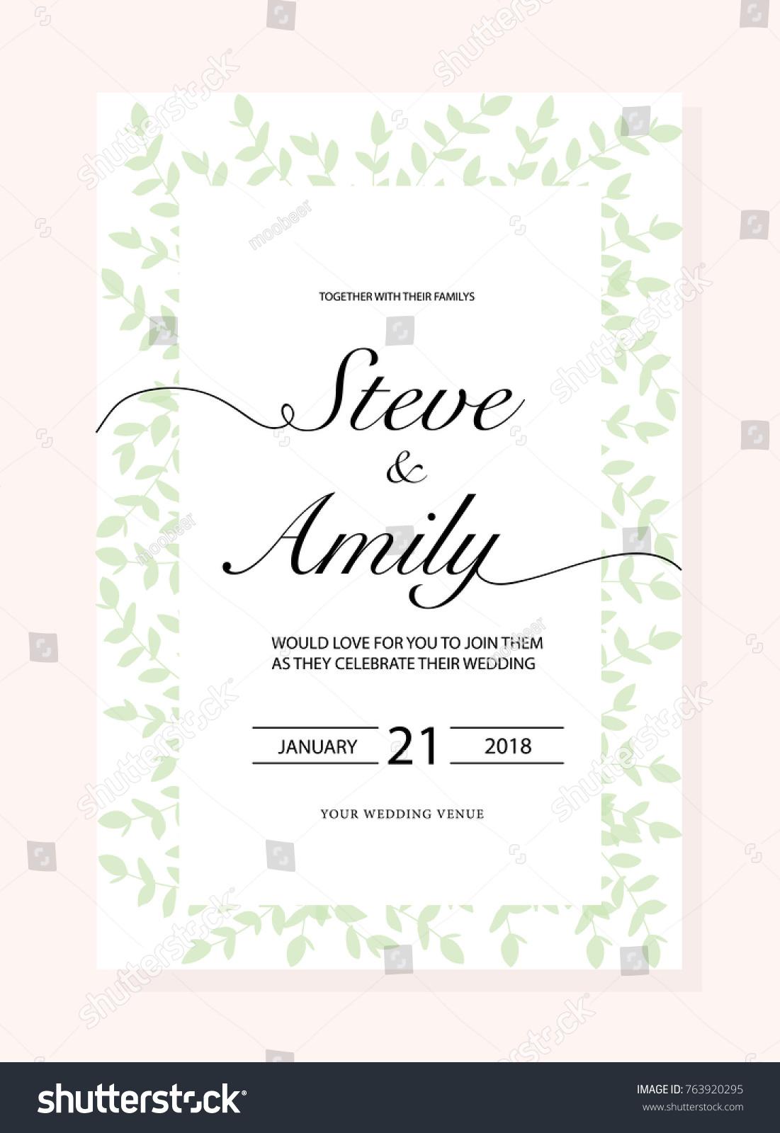 Green Wedding Invitation Card Stock Photo (Photo, Vector ...