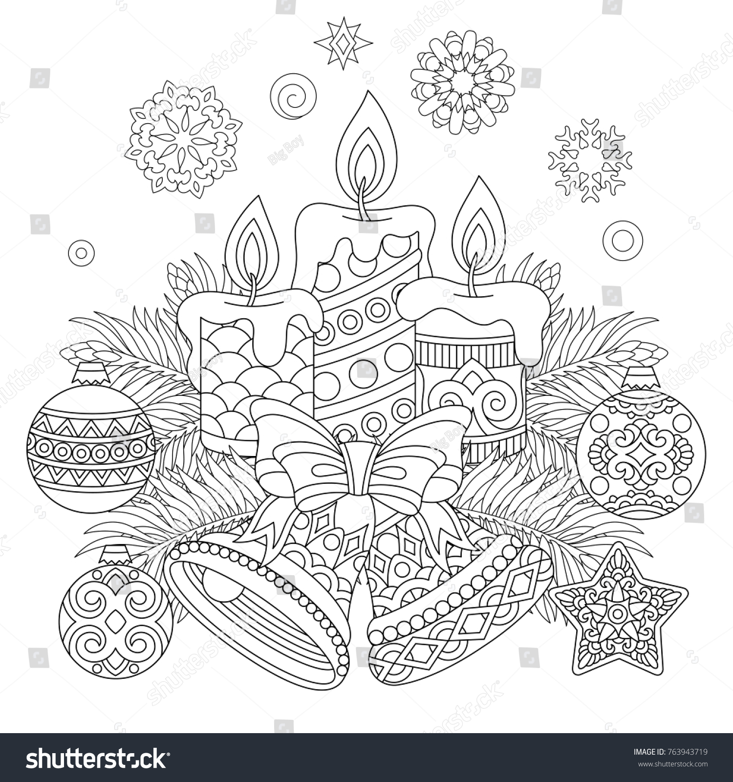Christmas Coloring Page Holiday Decorations Hanging Stock Vector ...