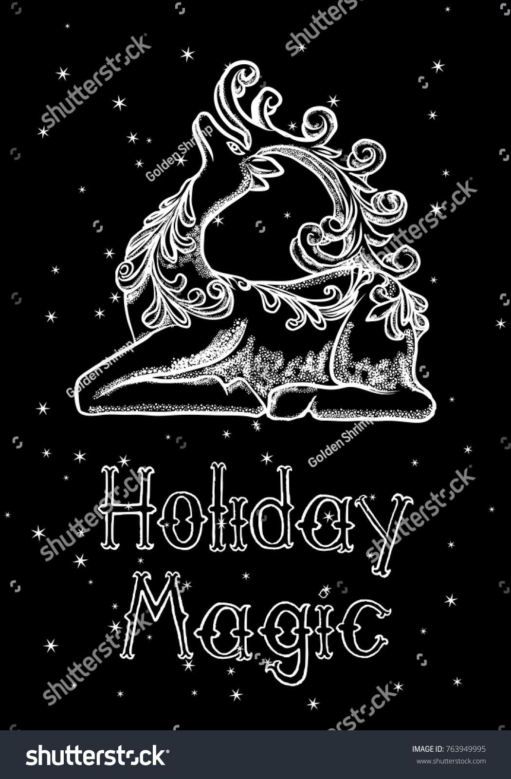 Merry christmas happy new year hand stock vector 763949995 merry christmas and happy new year hand drawn greeting card 2018 merry xmas seasons greeting kristyandbryce Choice Image