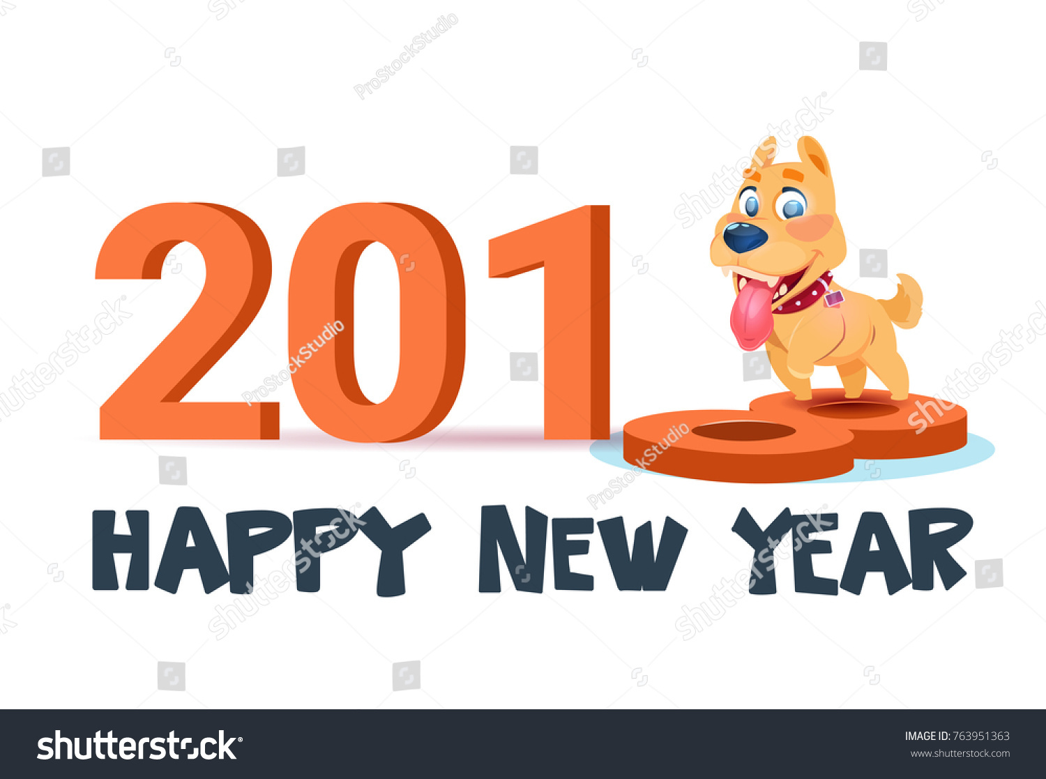 happy new year 2018 poster with cute dog on white background vector illustration
