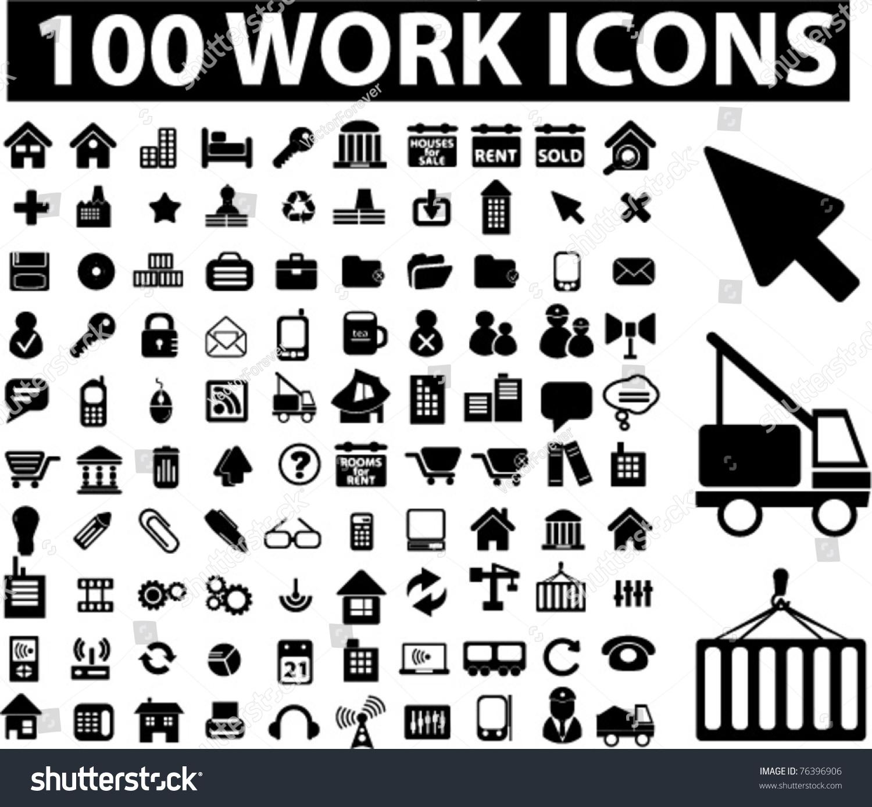 100 Work Icons Vector Stock 76396906 Shutterstock