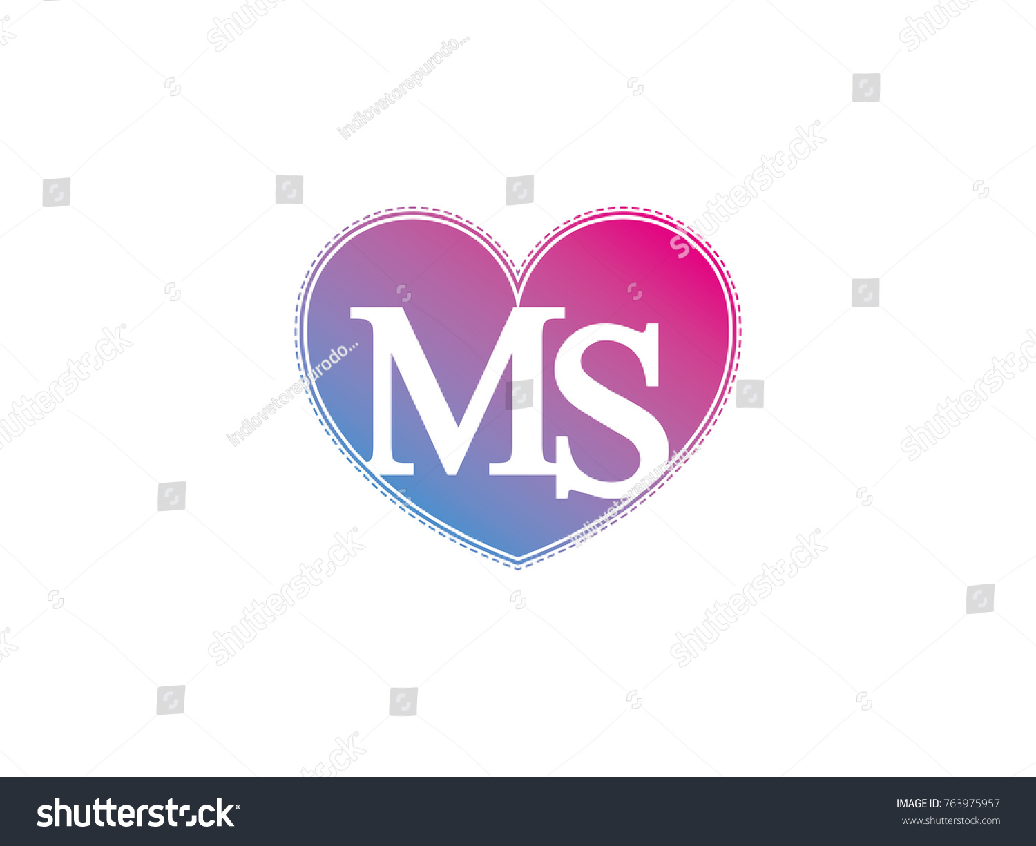 Initial Letter Ms Heart Symbol Logo Stock Vector Royalty Free