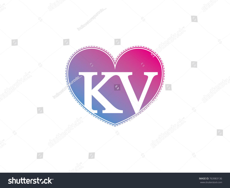 Initial Letter Kv Heart Symbol Logo Stock Vector Royalty Free