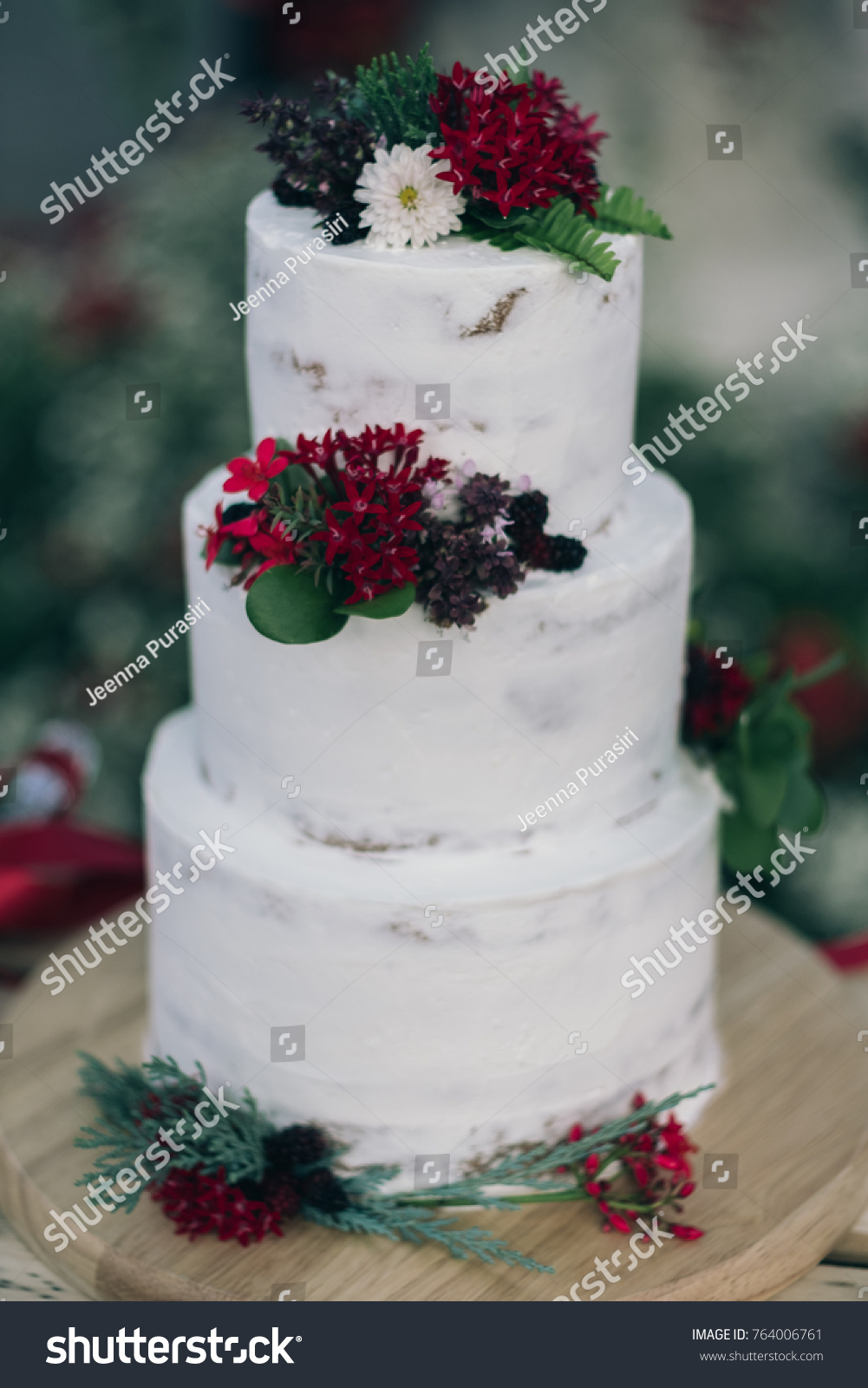 Wedding Cake Red Flower Stock Photo (Royalty Free) 764006761 ...
