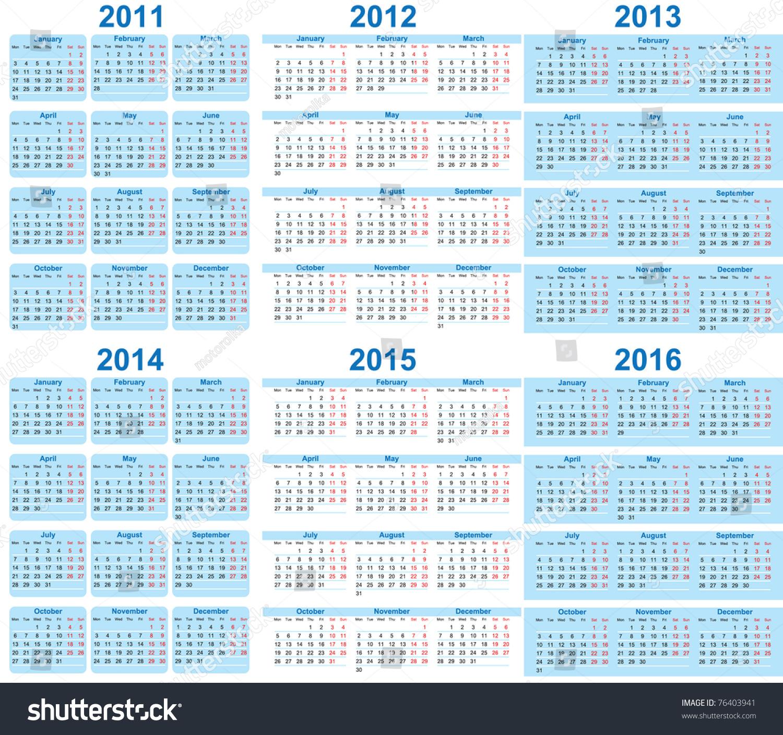 Set 2011 2016 Calendar Stock Vector 76403941 - Shutterstock