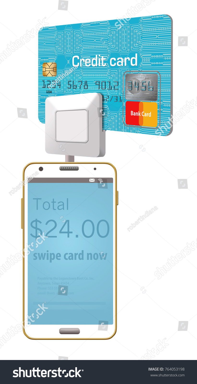 Generic Credit Card Reader On Cell Stock Illustration 764053198 Circuit Board Of A Phone Royalty Free Image Is Seen With Being Swiped