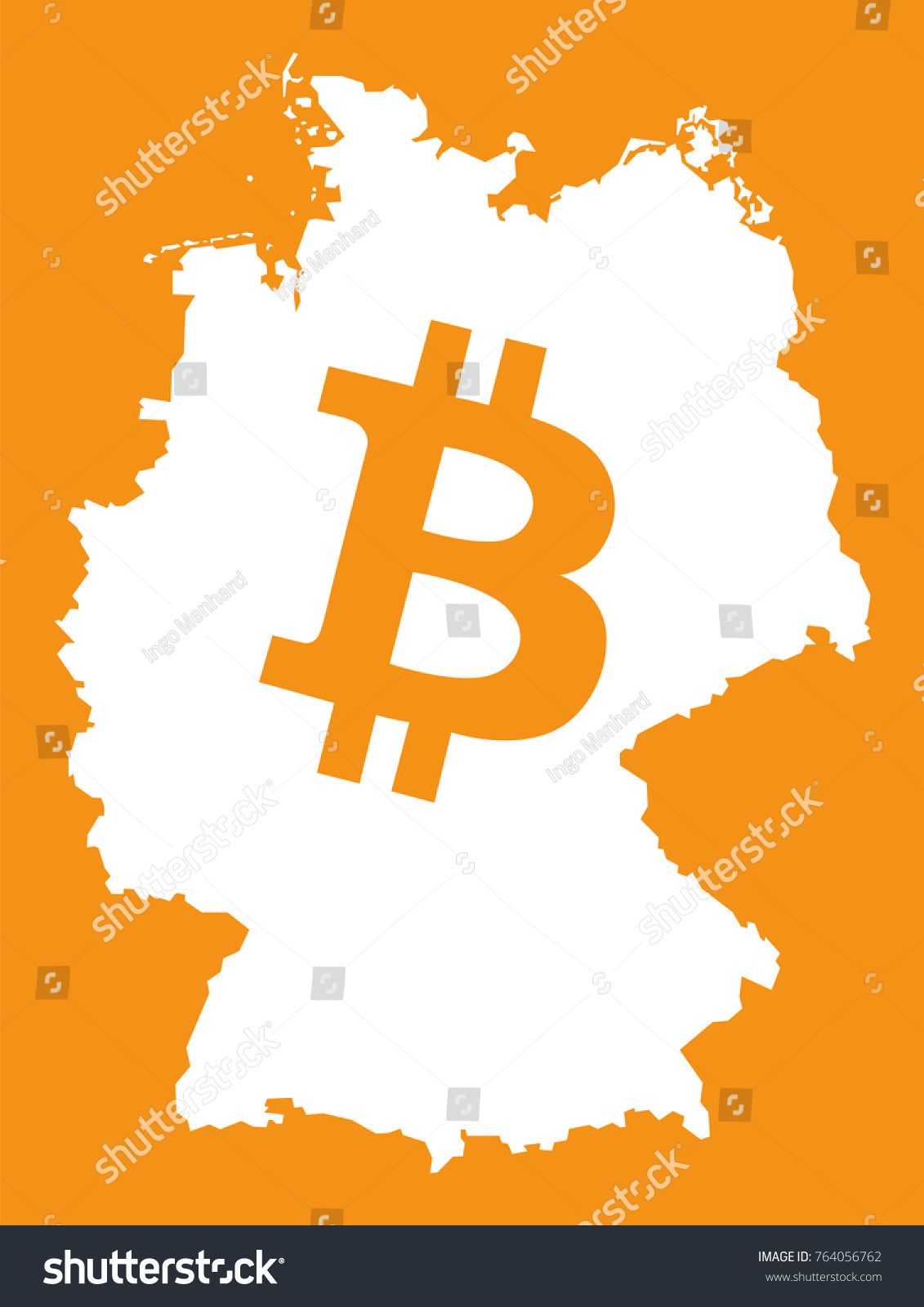 Germany Map Bitcoin Crypto Currency Symbol Stock Vector 764056762