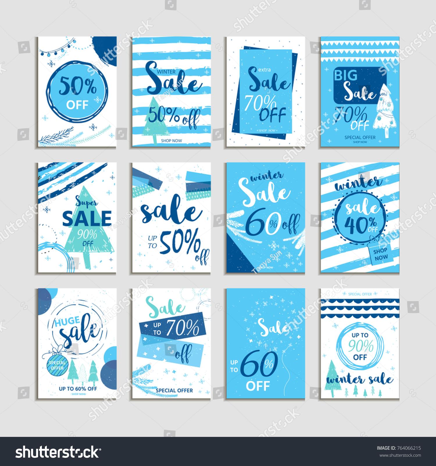 Winter Social Media Sale Banners Ads Stock Illustration 764066215