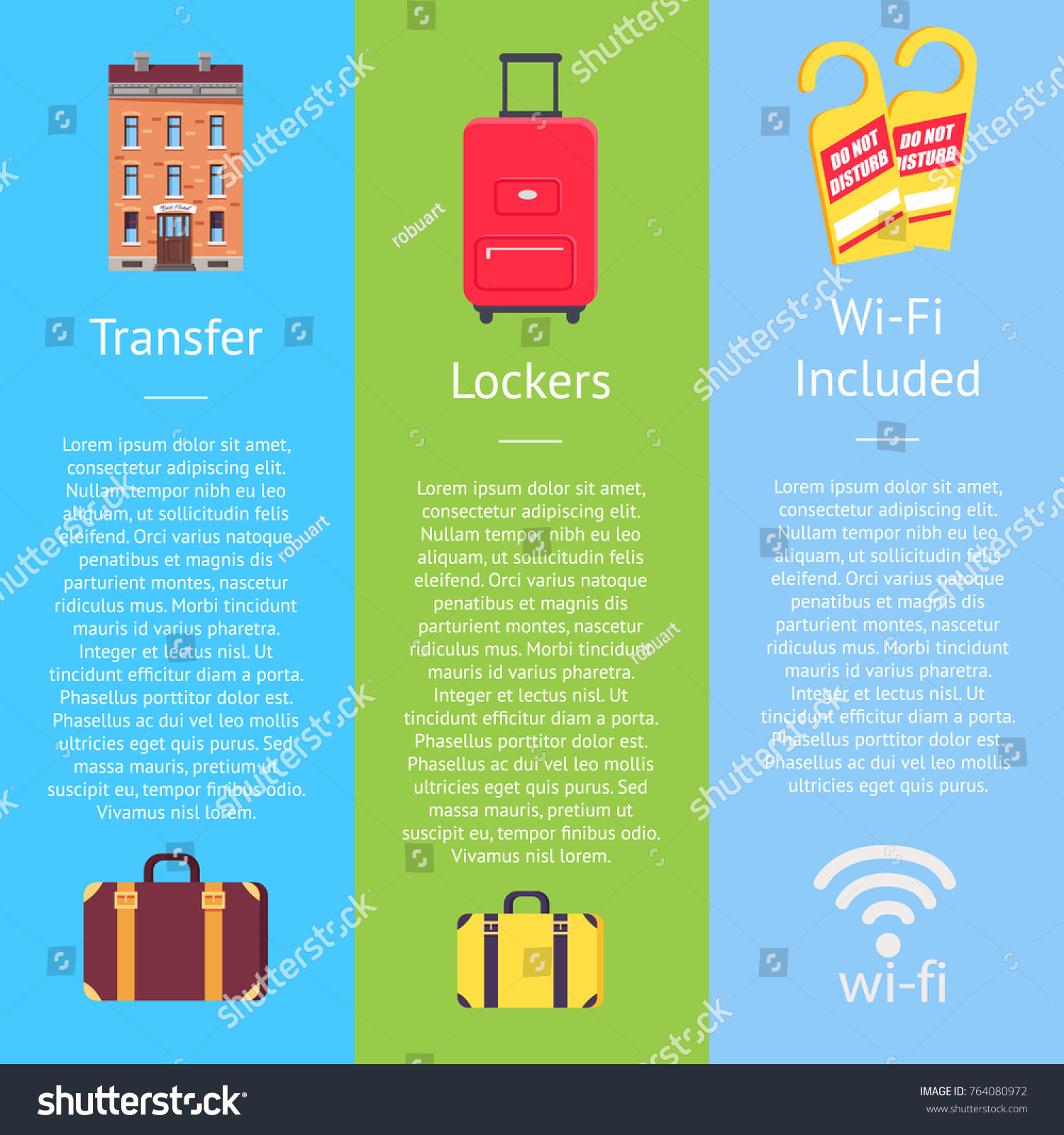 Transfer service lockers on bags wi-fi set of hotel posters. Vector  sc 1 st  Shutterstock & Transfer Service Lockers On Bags Wifi Stock Vector HD (Royalty Free ...