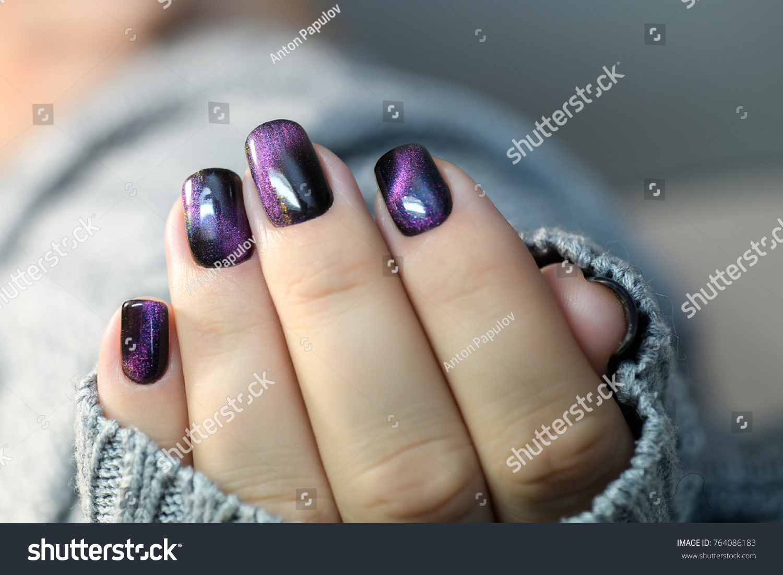 Beautiful Nail Polish Hand Purple Nail Stock Photo & Image (Royalty ...