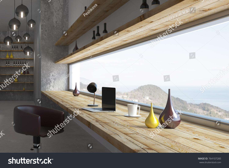 Side View Contemporary Room Interior Windowsill Stock Illustration ...