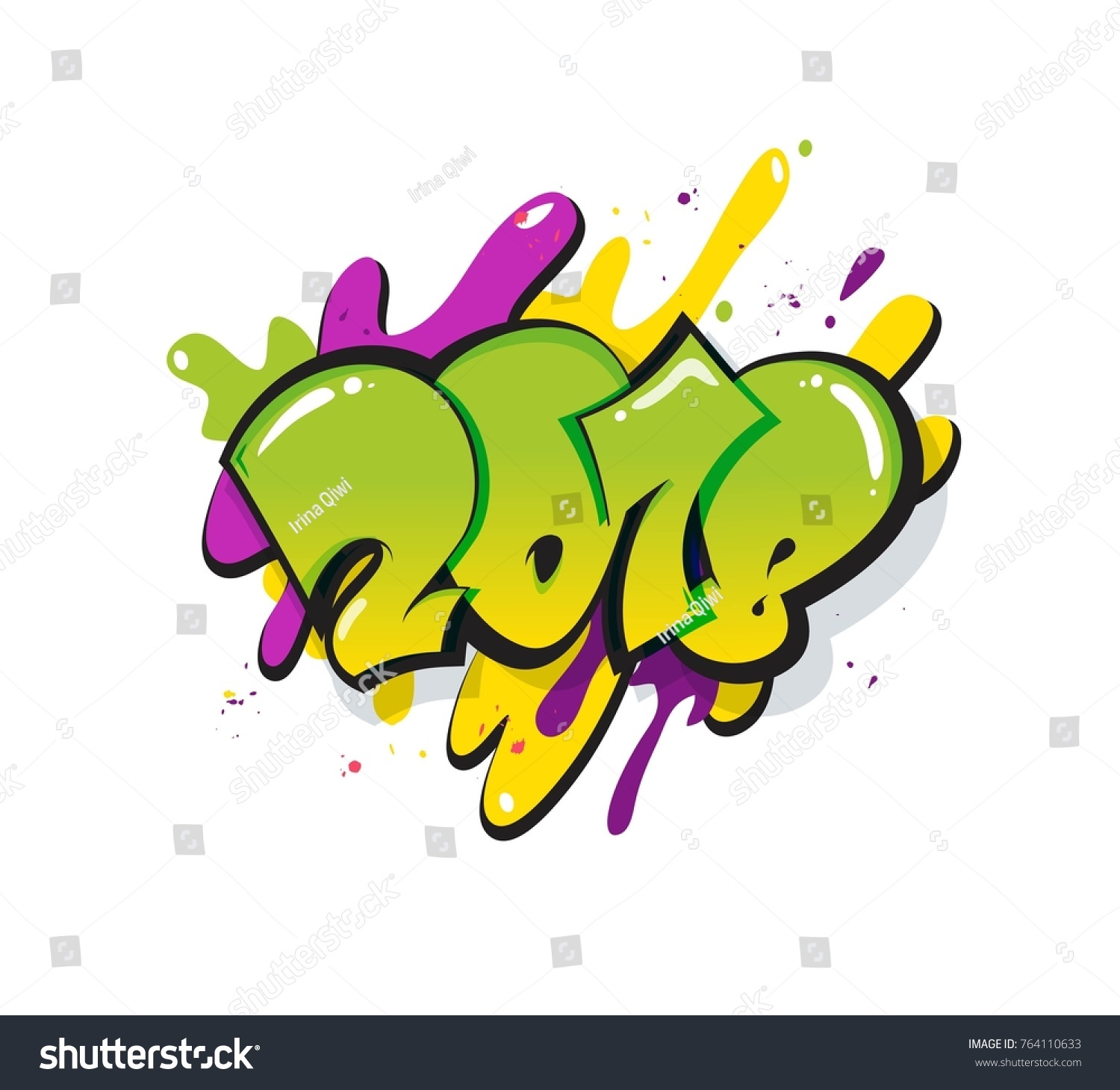 New Year 2018 Text Design Greeting Stock Vector 764110633 - Shutterstock