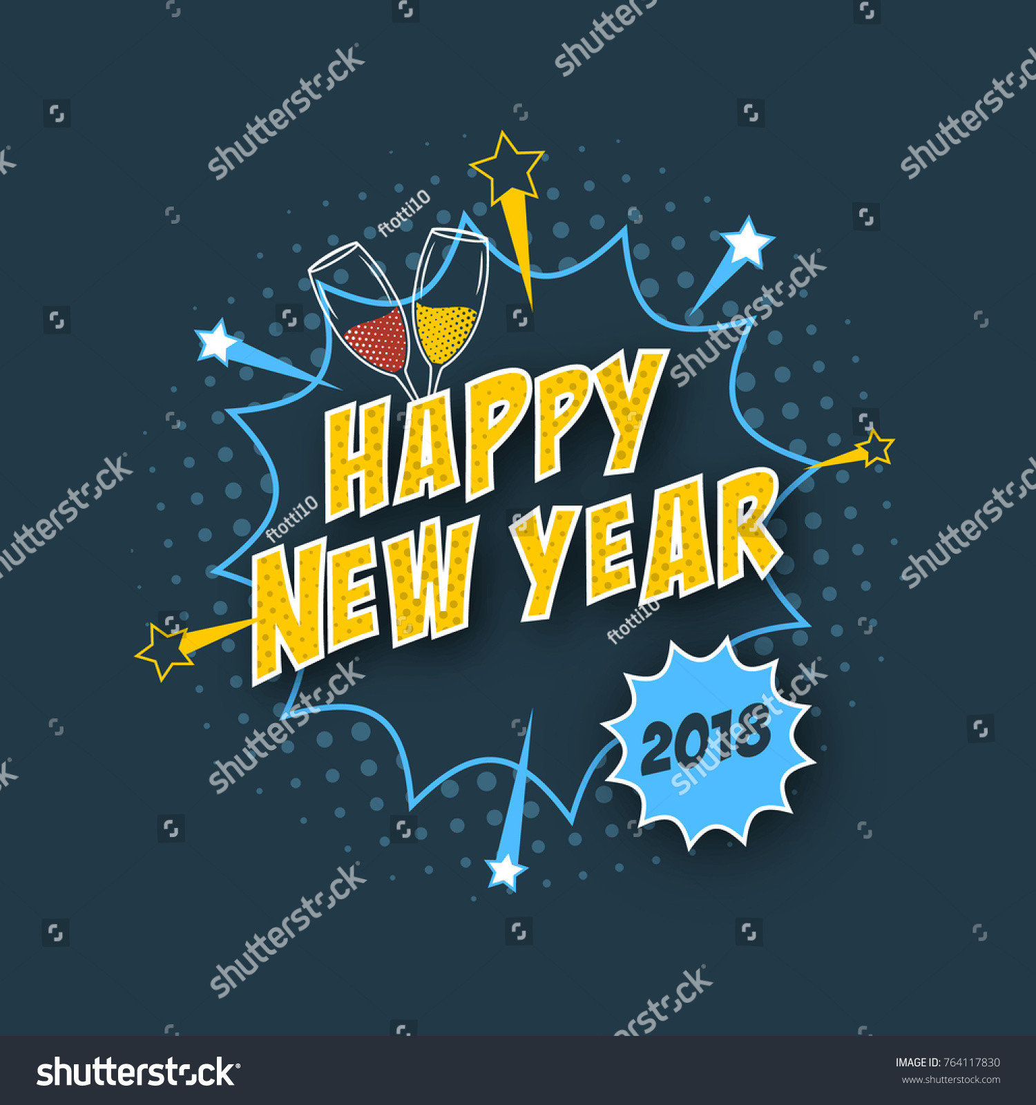 Happy New Year 2018 Greeting Card Stock Vector 764117830 Shutterstock