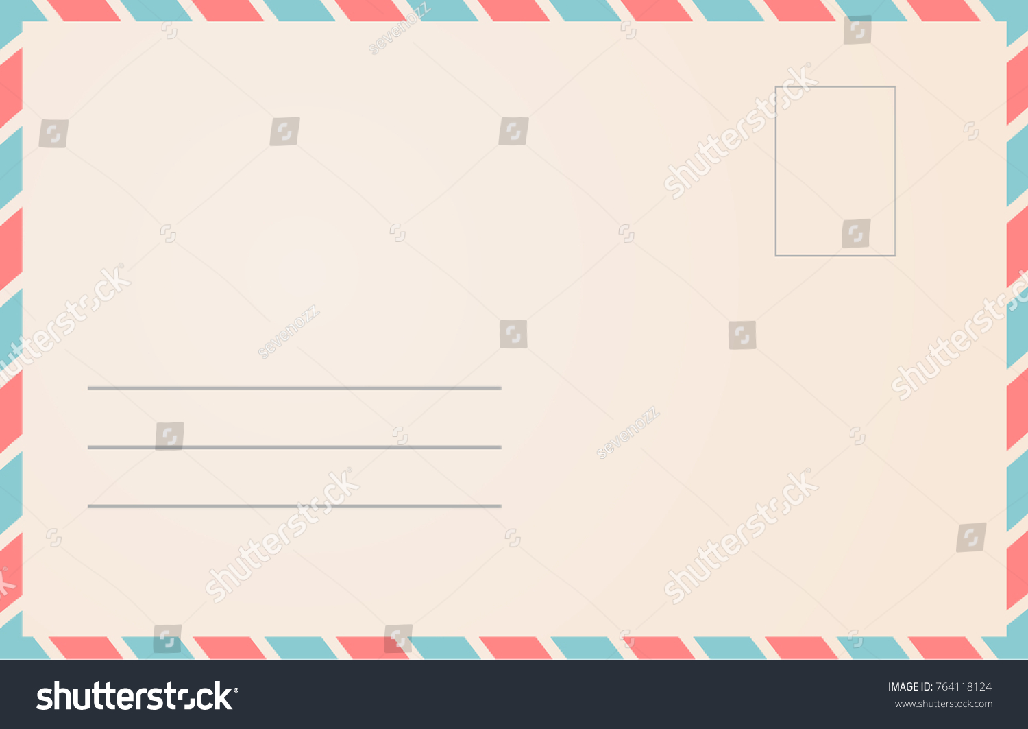 Postal Envelope Template. Mail Letter Design Illustration