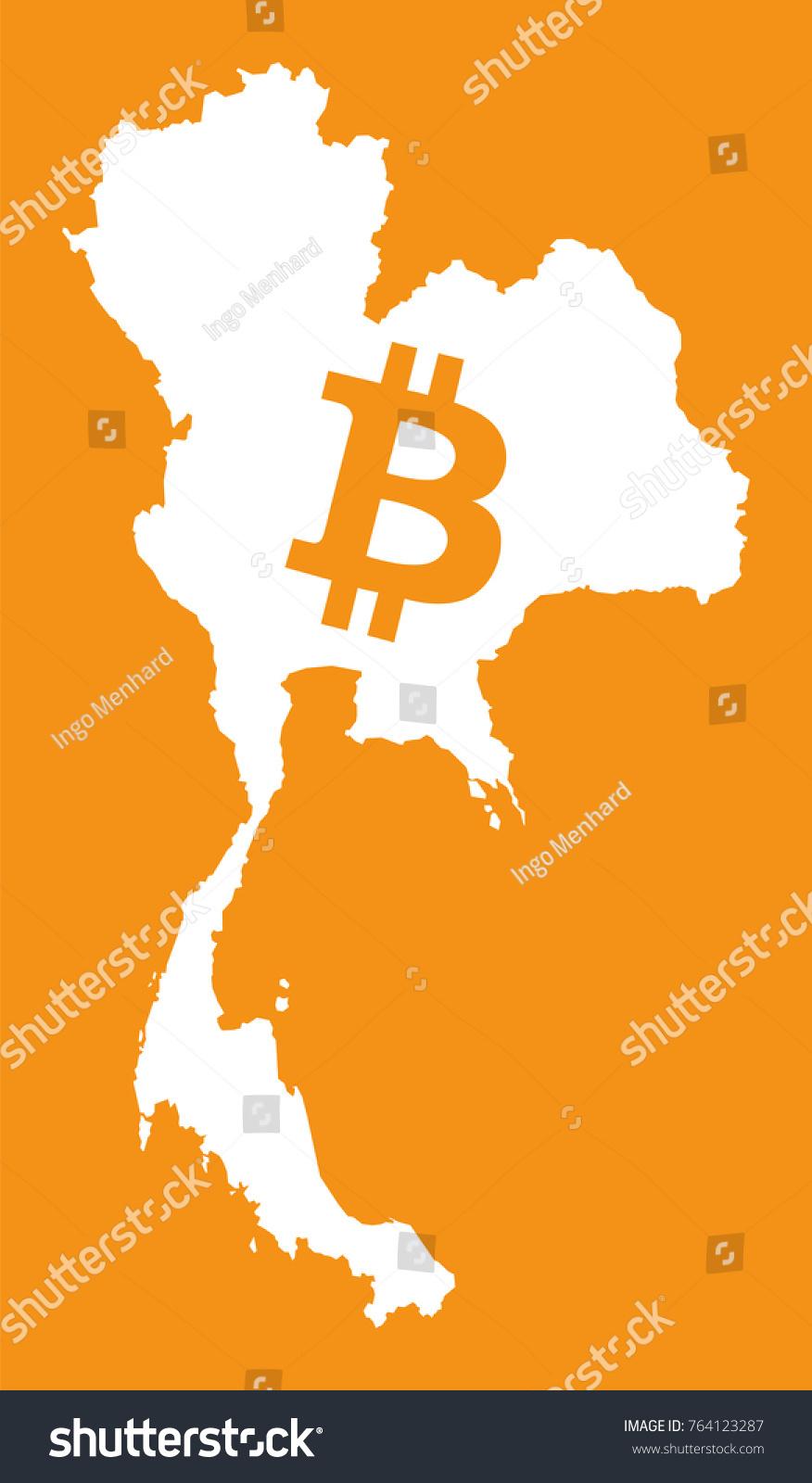 Thailand Map Bitcoin Crypto Currency Symbol Stock Vector 764123287