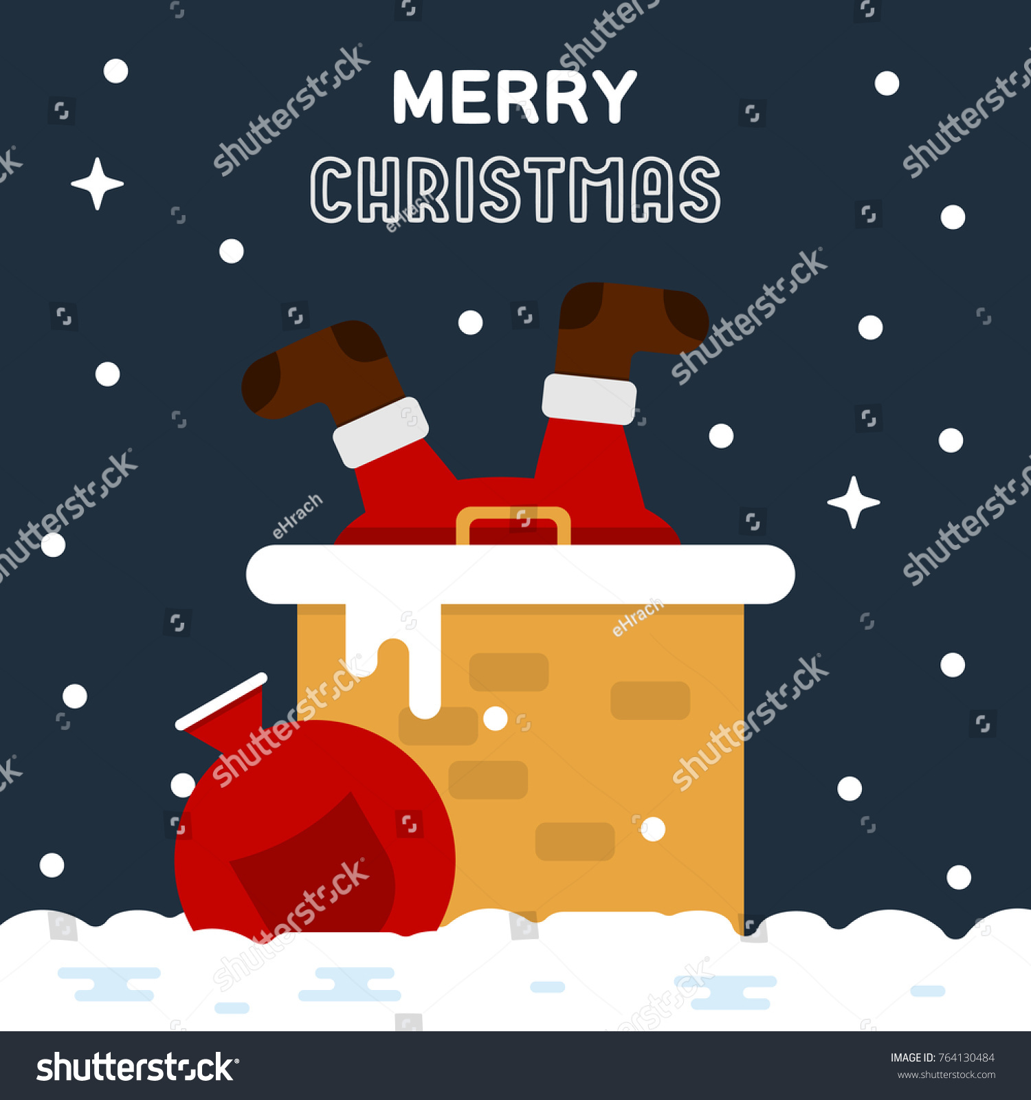 Merry Christmas Funny Greeting Card Santa Stock Vector (Royalty Free ...