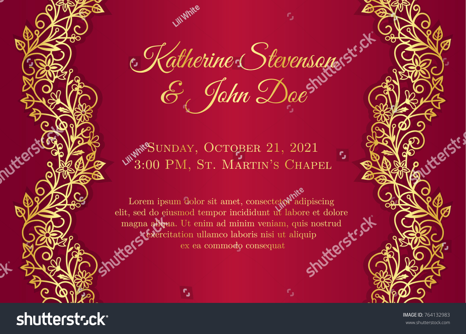 Red Wedding Invitation Golden Floral Borders Stock Vector (Royalty ...