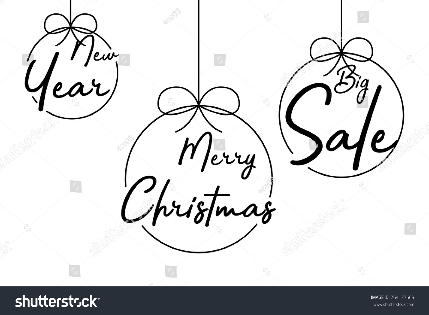 Christmas balls happy christmas new year stock vector 764137669 christmas balls happy christmas new year and big sales drawn by a marker pen kristyandbryce Images