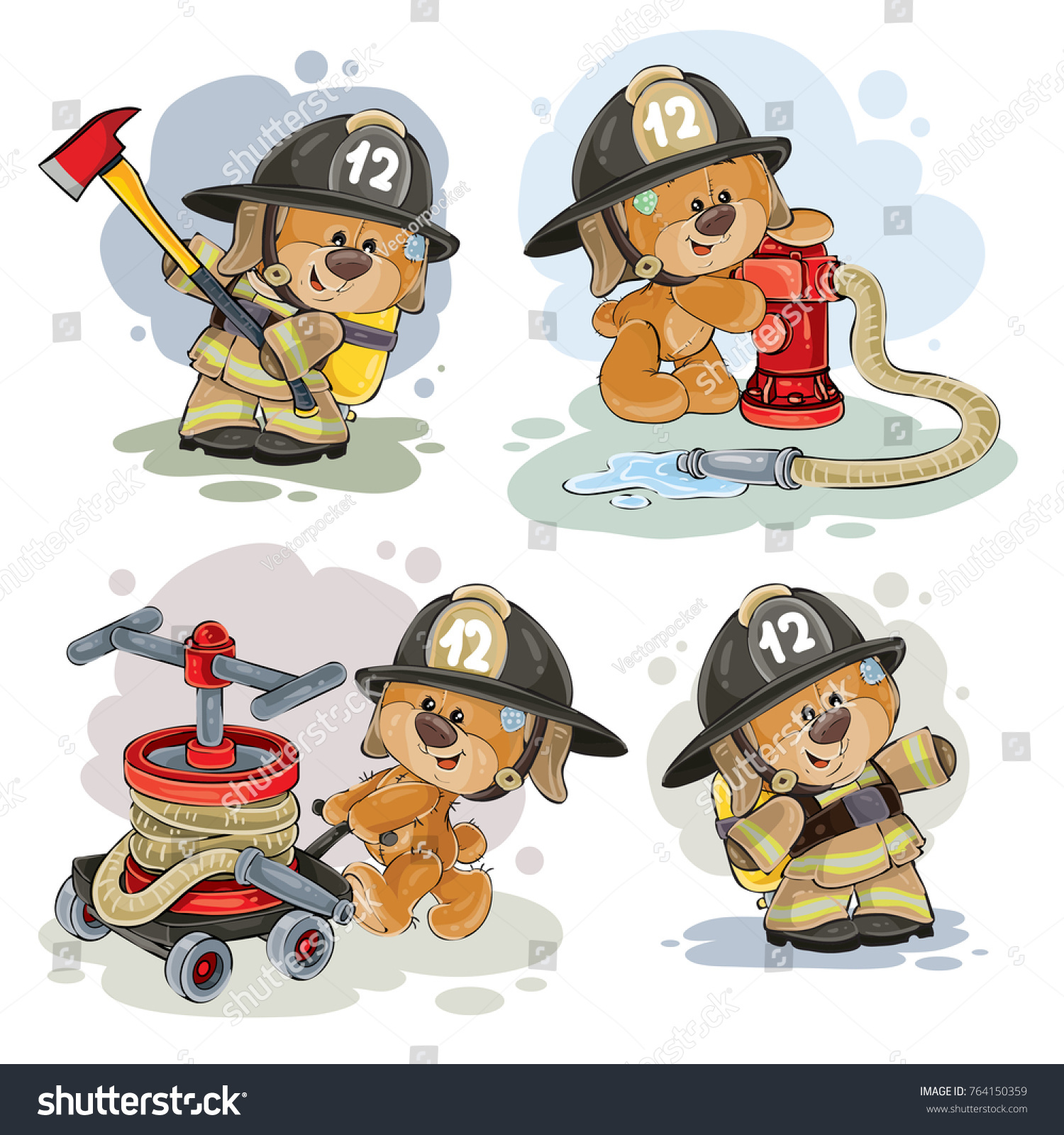 Firefighter Vector And Firefighting Equipment With Fire Hose.. Royalty Free  Cliparts, Vectors, And Stock Illustration. Image 96226174.