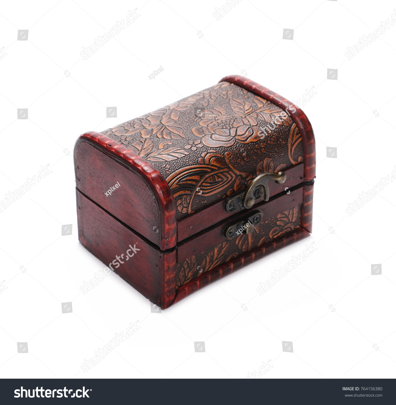 ID 764156380  sc 1 st  EZ Canvas & Wooden jewelry gift box treasure chest isolated on white background ...
