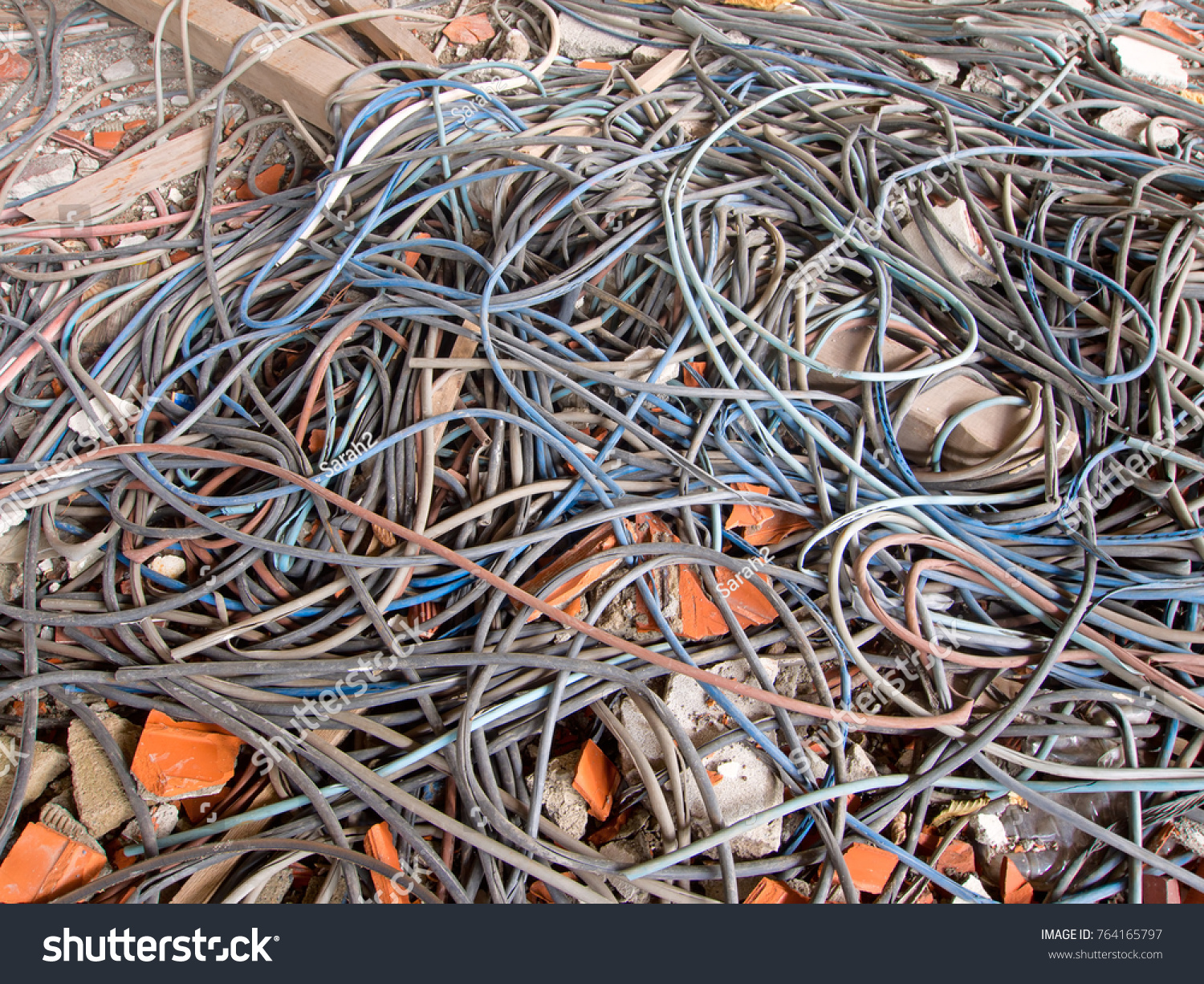Old Electrical Cables During Demolition Tangled Stock Photo (Royalty ...