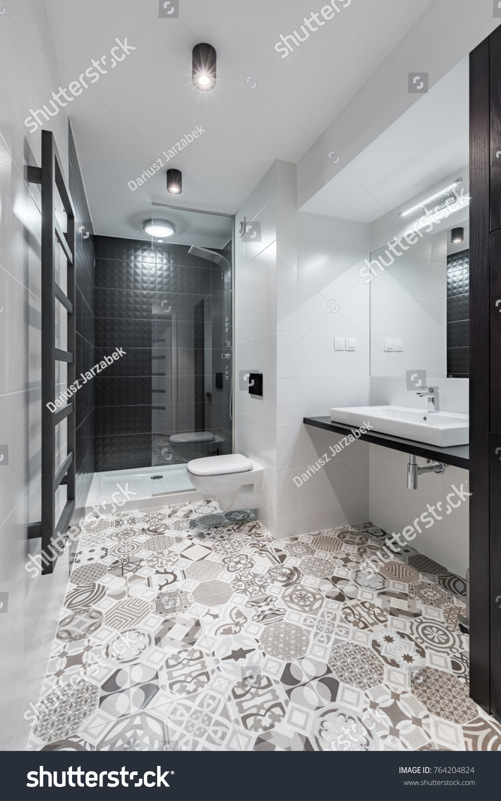 Black White Bathroom Shower Beautiful Pattern Stock Photo & Image ...