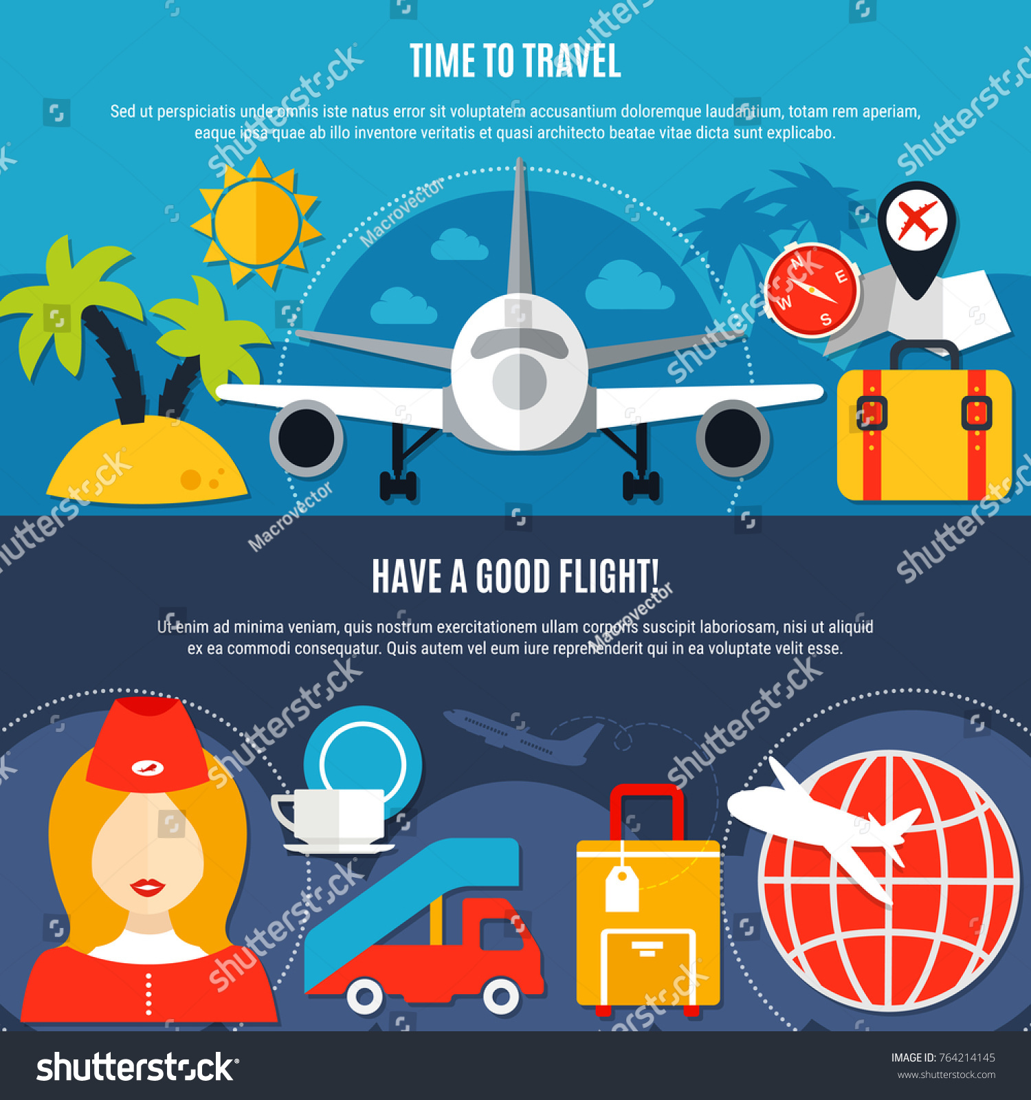 Air travel airlines 2 flat advertisement stock vector 764214145 air travel airlines 2 flat advertisement banners with tropical vacation luggage and service in flight biocorpaavc Gallery