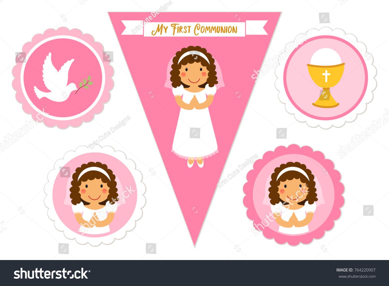 cute set printable elements first communion stock illustration