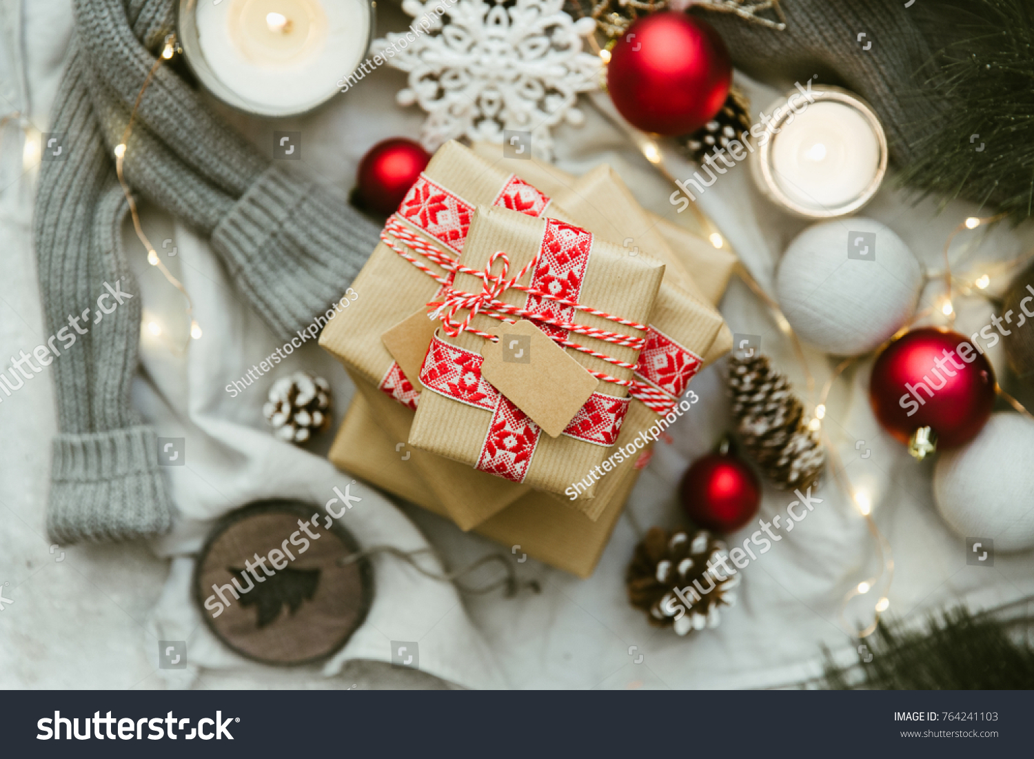 Christmas Gift Still Life Homemade Wrapped Stock Photo (Edit Now ...