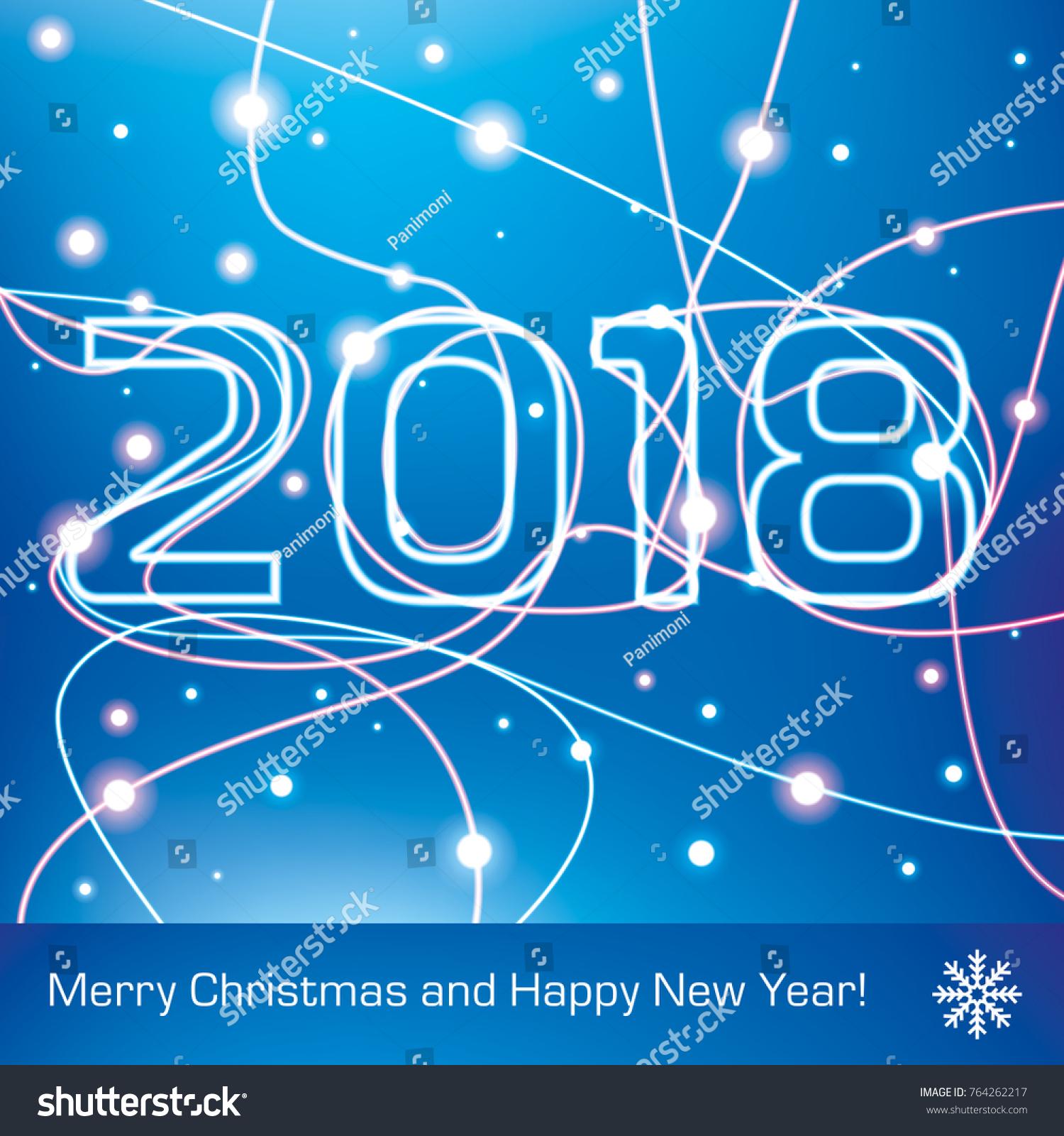 Merry Christmas Happy New Year 2018 Stock Vector 764262217 ...