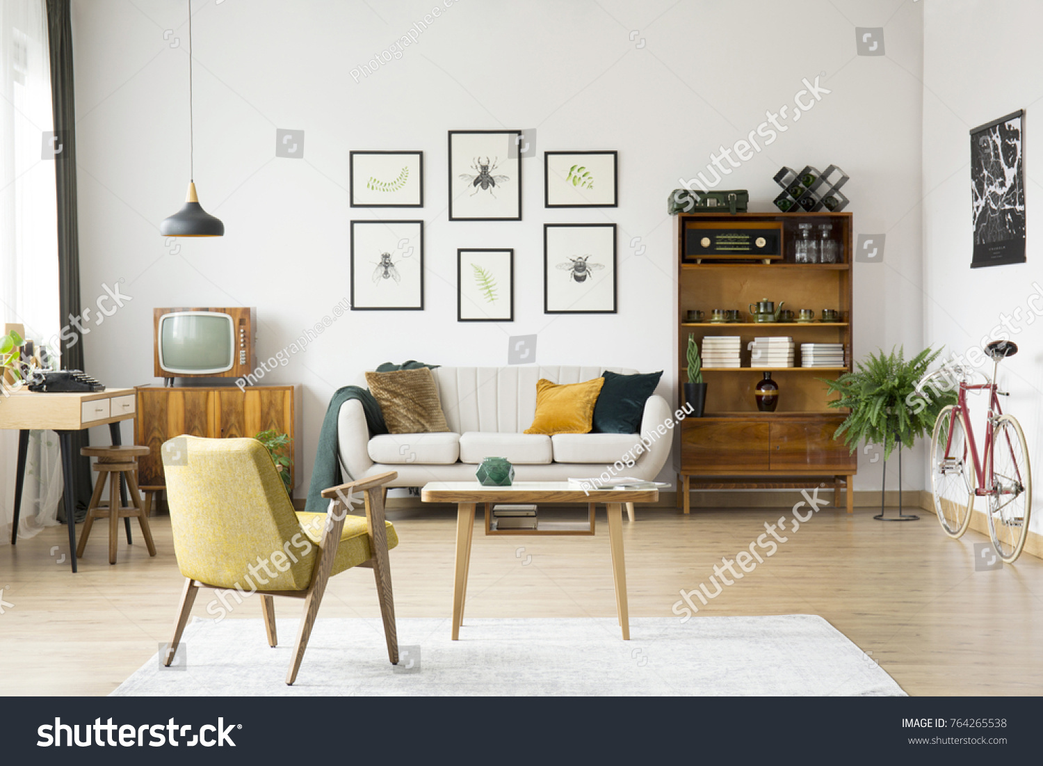 Yellow Chair Wooden Table On White Stock Photo (Download Now ...