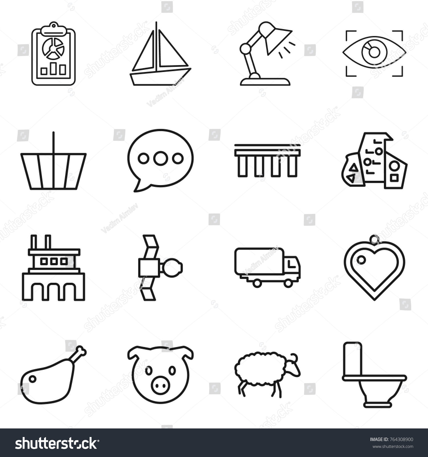 Thin line icon set report boat stock vector 764308900 shutterstock thin line icon set report boat table lamp eye identity basket geotapseo Image collections