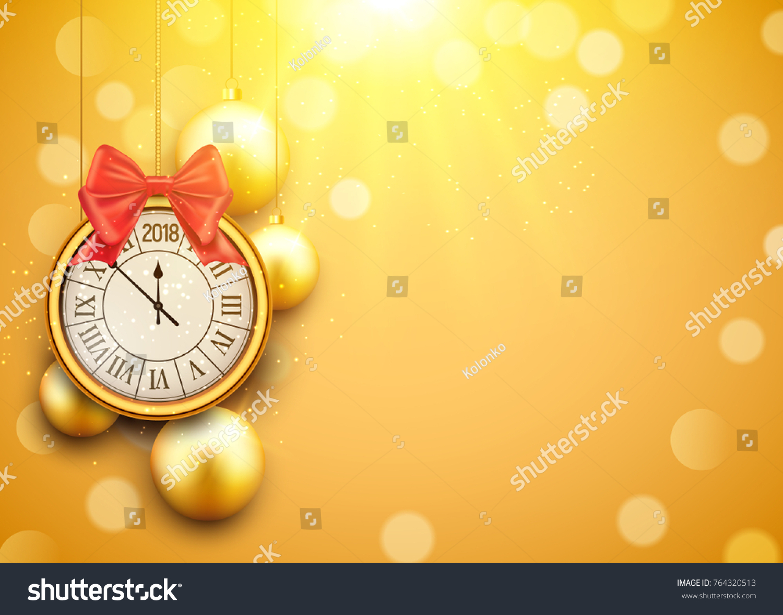 2018 New Year Shining Background With Clock Happy Celebration Decoration Golden Balls