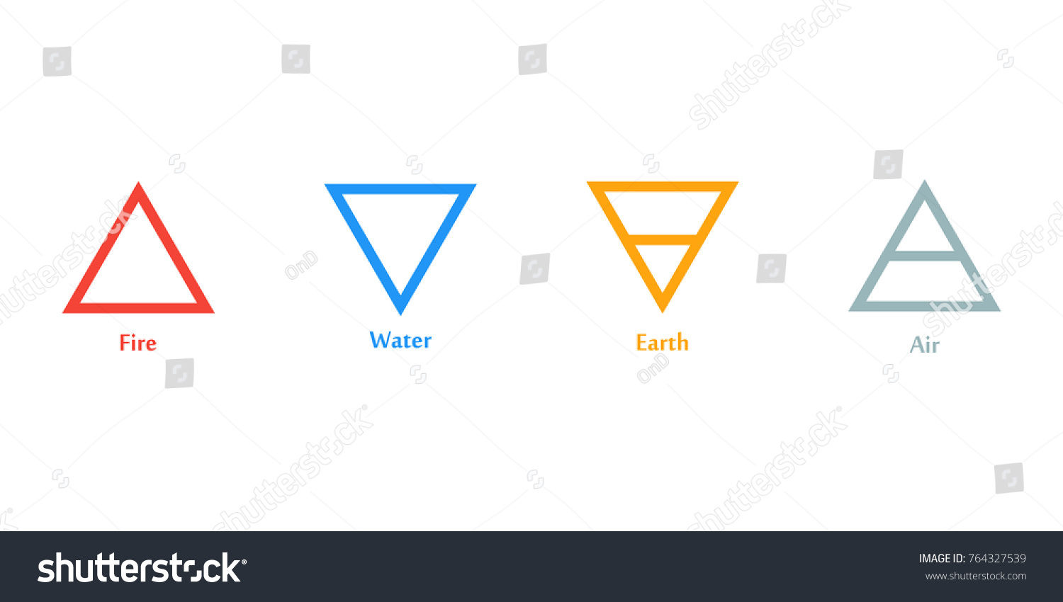 Raster Illustration Four Elements Icons Triangle Stock Illustration