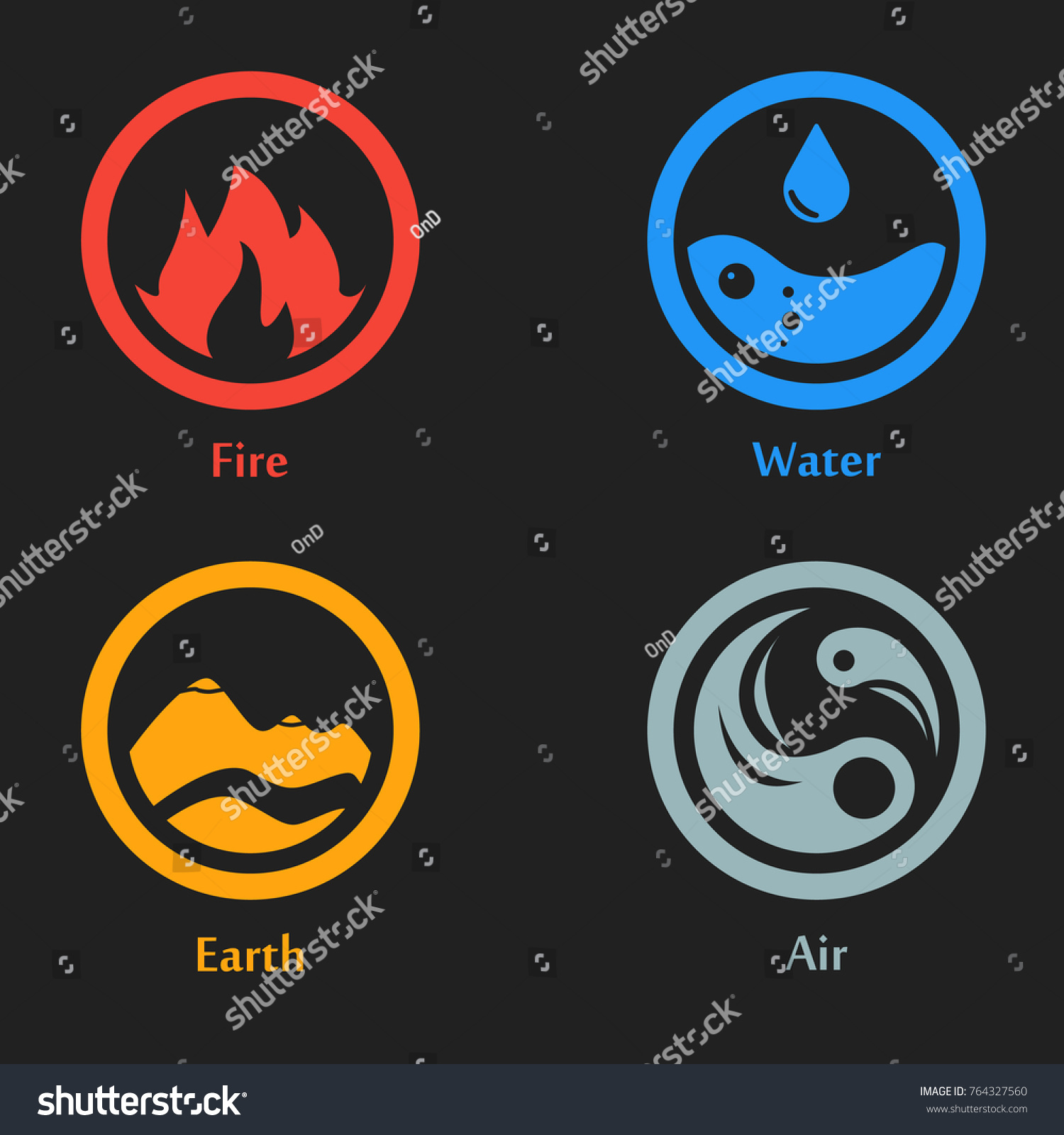 Raster Illustration Four Elements Icons Round Stock Illustration