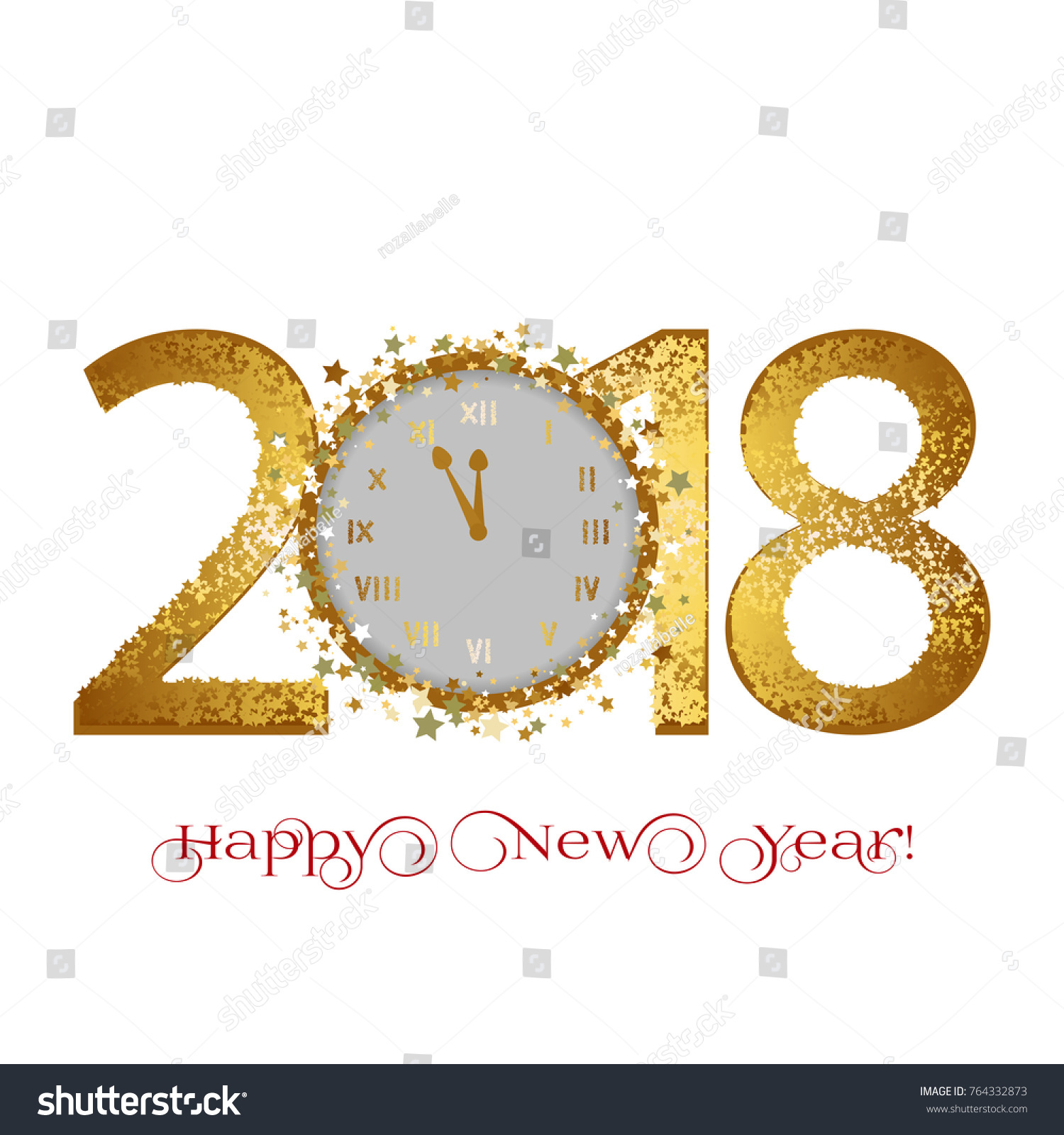 happy new year 2018 golden stars and clocks on a white background