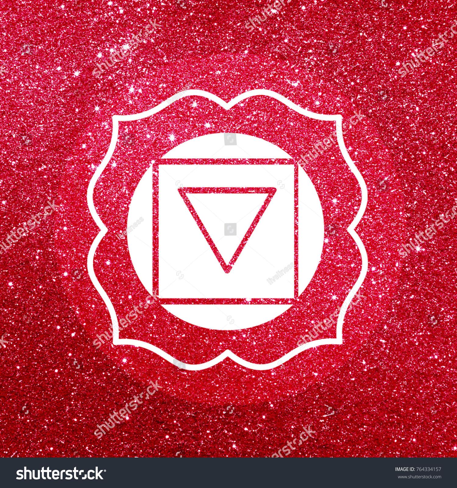 Root Chakra Symbol Sparkling Glitter Background Stock Illustration