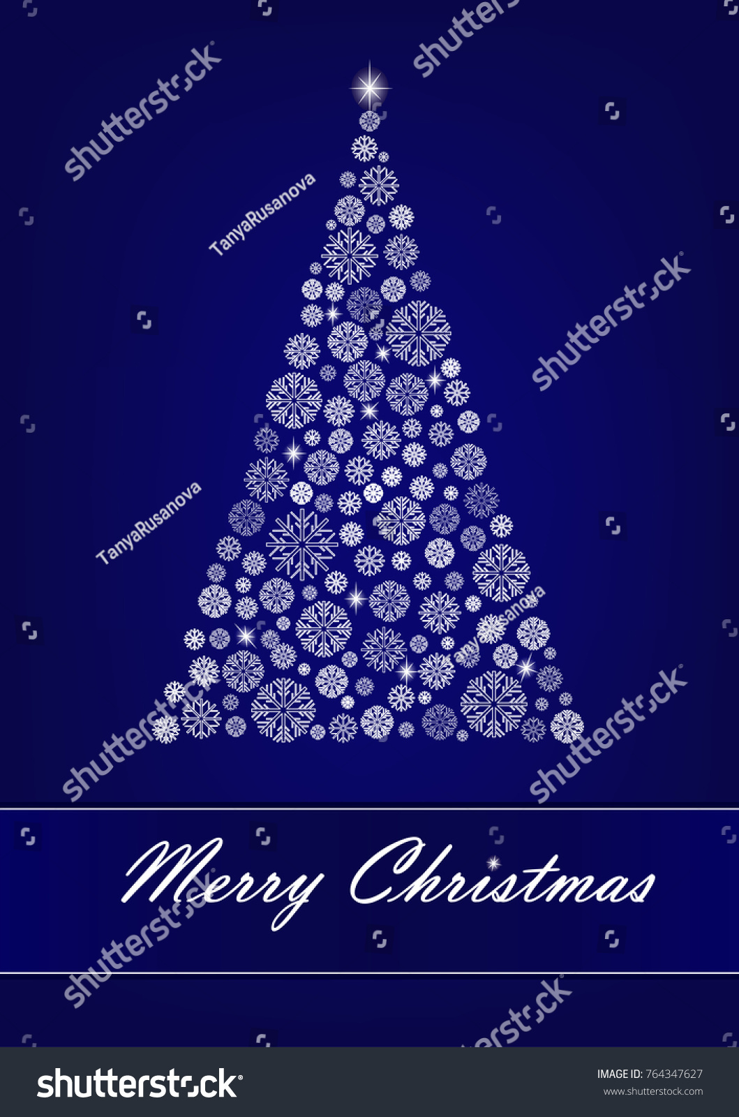 White Snowflake Christmas Tree On The Dark Blue Background Vertical Vector Illustration