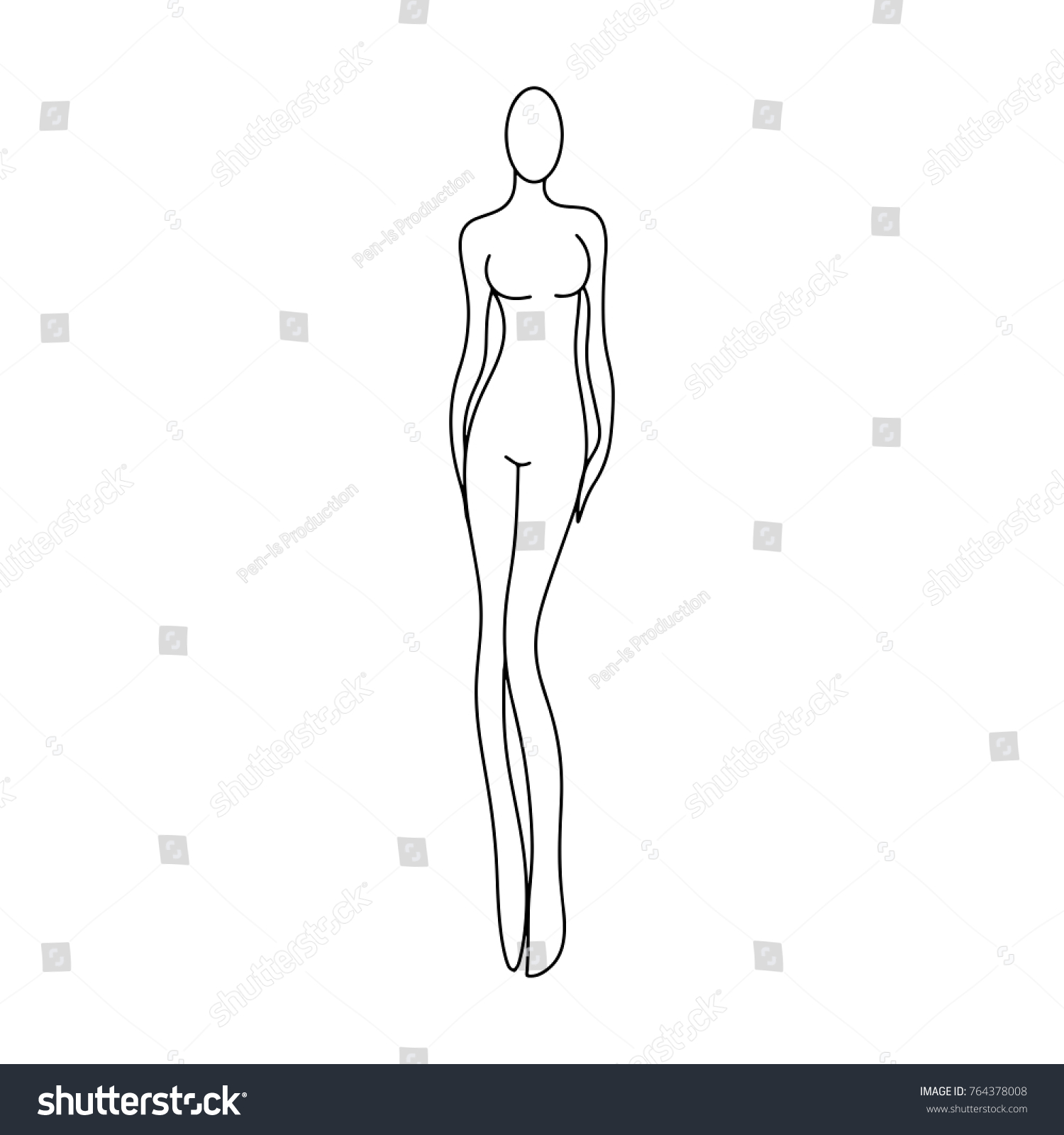 outline of a girl template