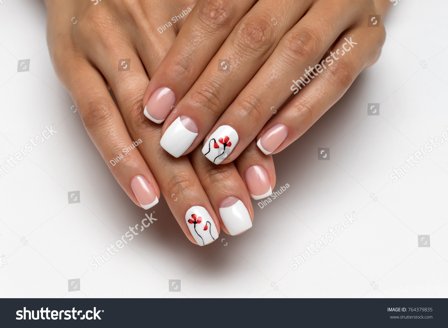 Wedding French Manicure Red Poppies On Stock Photo (Download Now ...