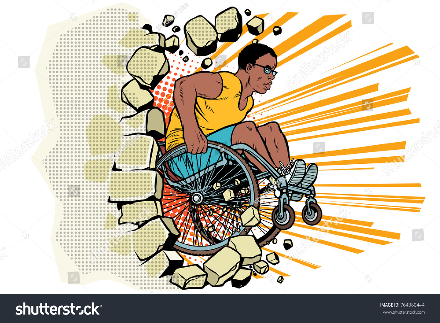 Black Male Athlete Wheelchair Punches Wall Stock Illustration ...