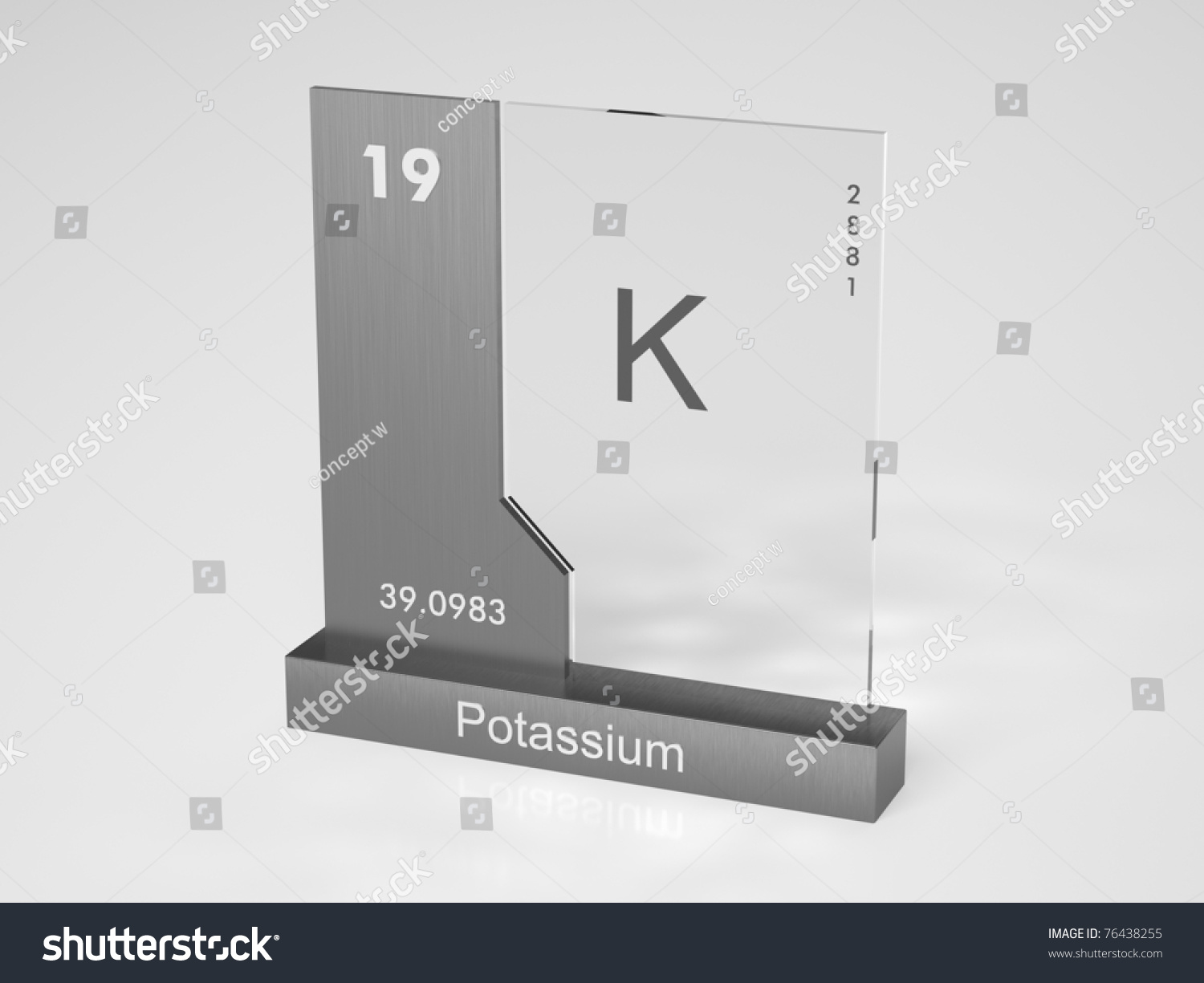 Potassium Symbol K Chemical Element Periodic Stock Illustration