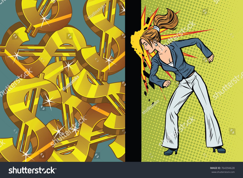 Businesswoman Seeks Get Rich Hit Wall Stock Illustration 764394628 ...