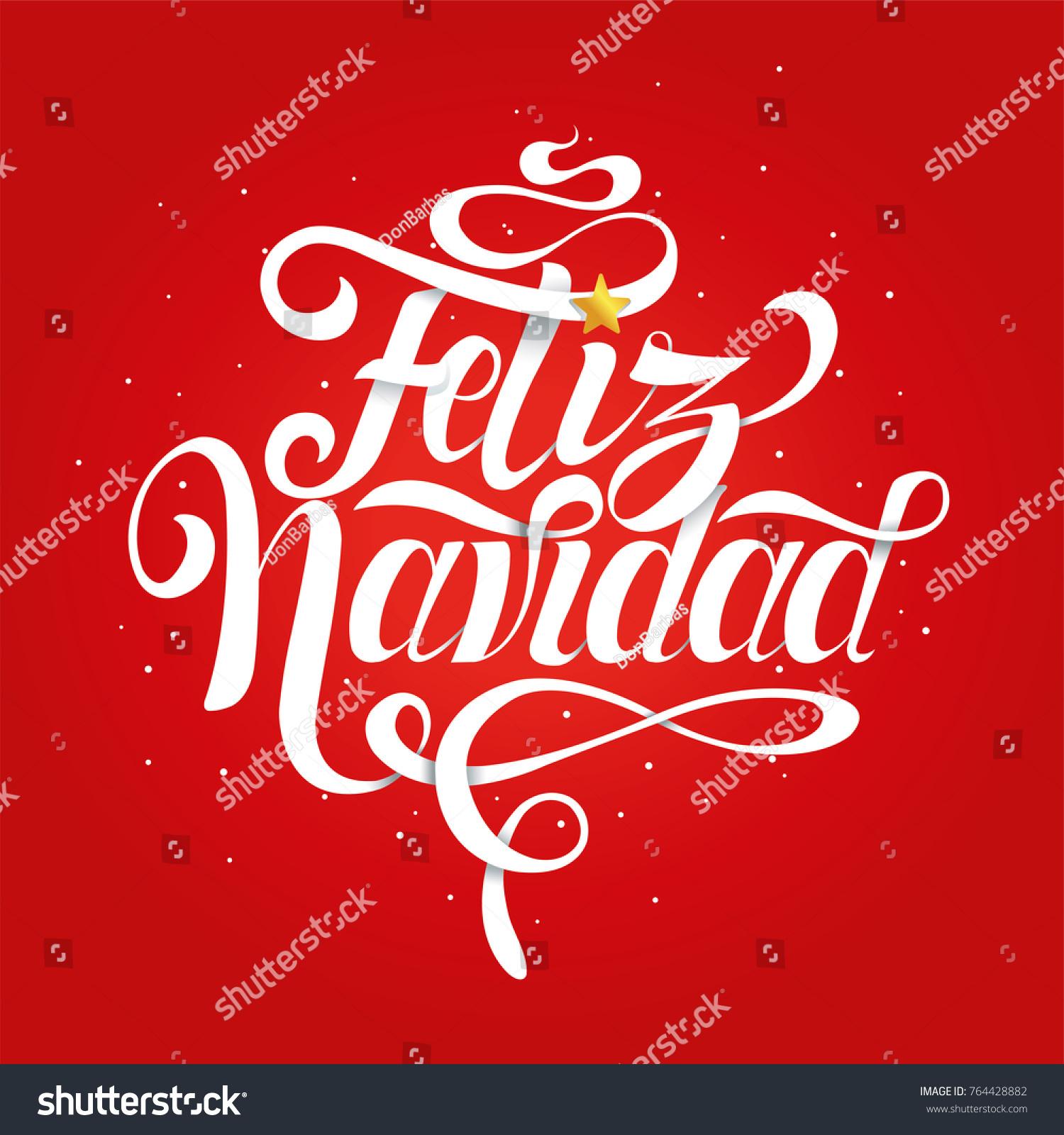 Feliz Navidad Merry Christmas Spanish Vector Stock Vector Royalty