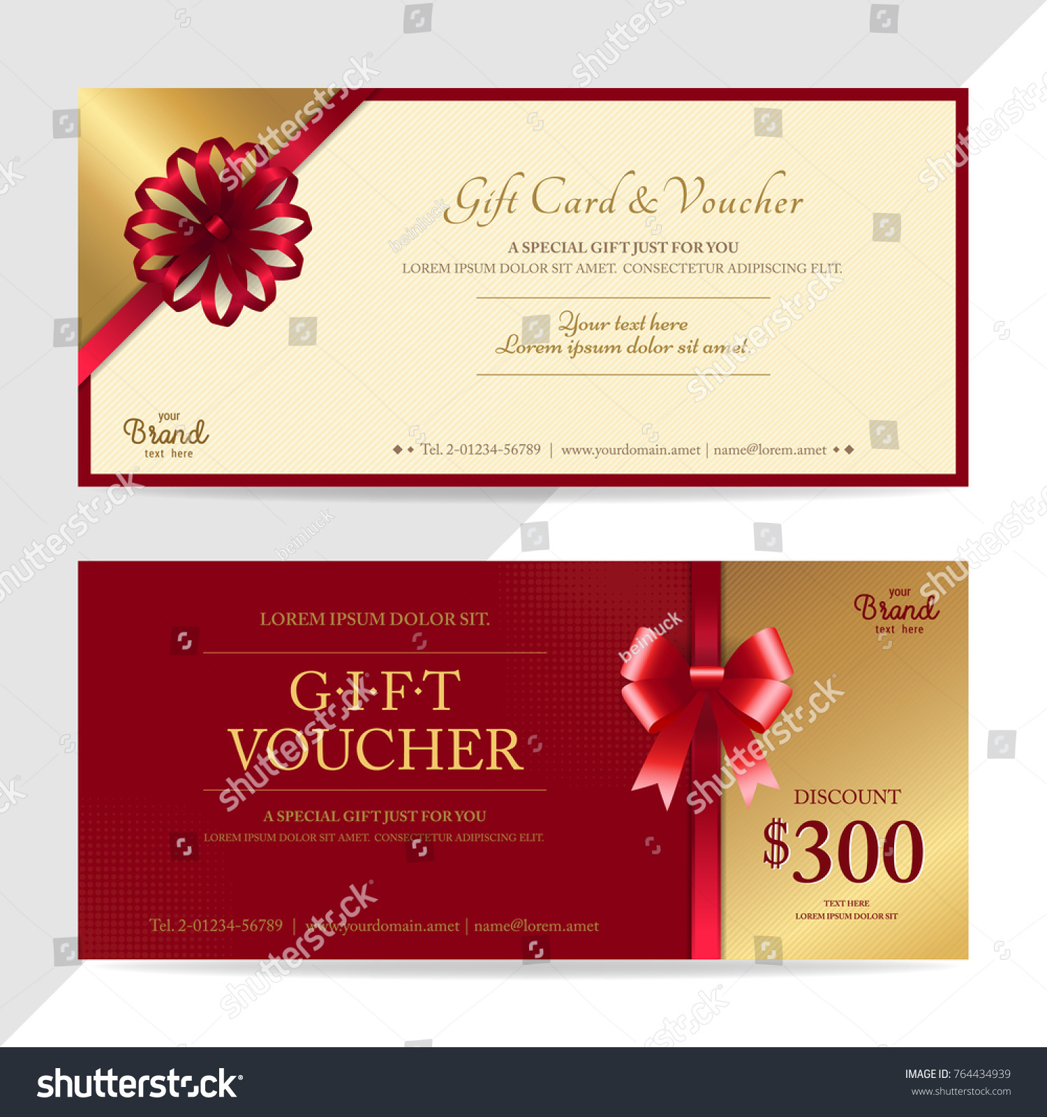 Gift Certificate Voucher Gift Card Cash Stock Vector Royalty Free