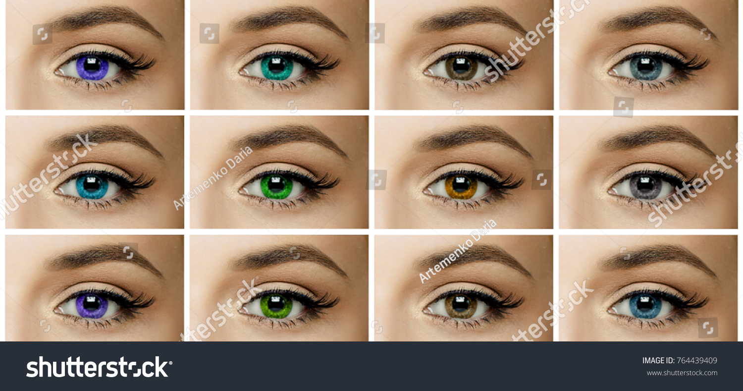 Set Collage Different Types Color Contact Stock Photo 764439409 ...