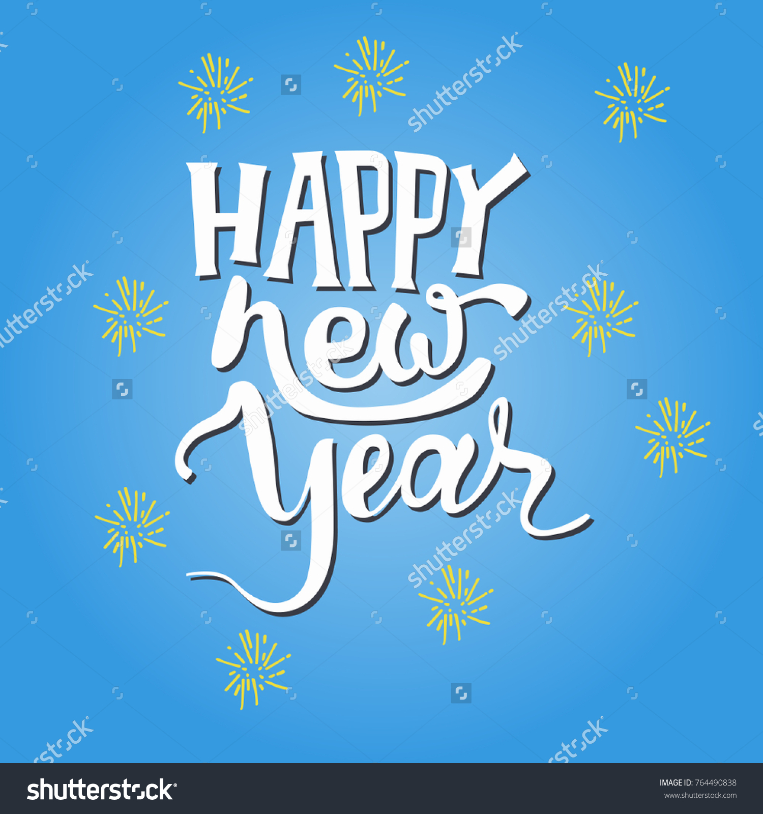 Happy new year text hand drawn stock vector 764490838 shutterstock happy new year text hand drawn lettering holiday greetings quote great for christmas kristyandbryce Images