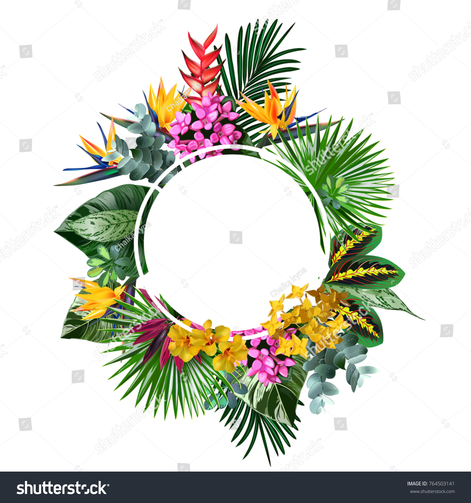 Tropical Flowers Leavesvector Banner Design Greeting Stock Vector Royalty Free 764503141