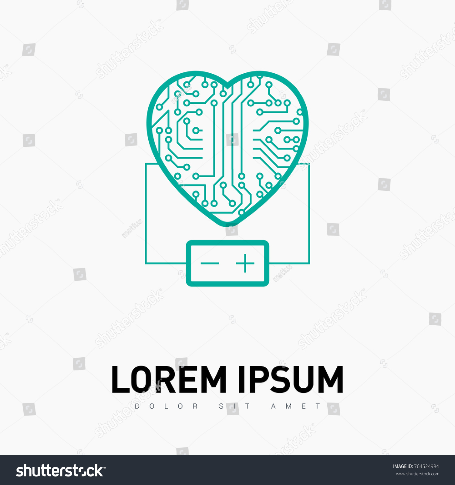 Electronic Circuit Board Heart Battery Line Stock Vector Royalty Symbol With Icon