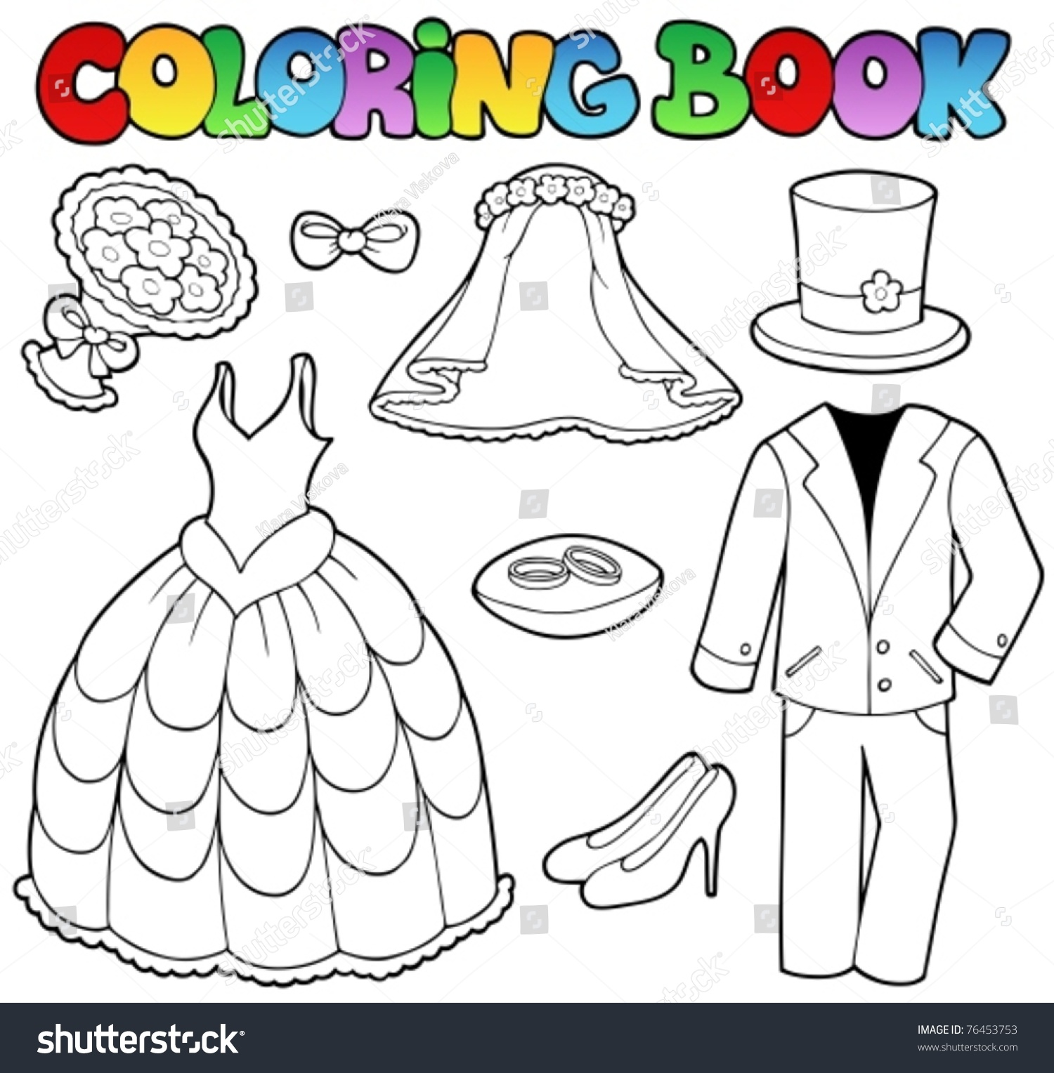 Coloring Book With Wedding Clothes